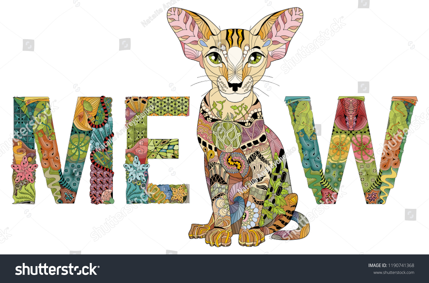 Word Meow Drawing Cat Vector Zentangle Stock Vector Royalty Free