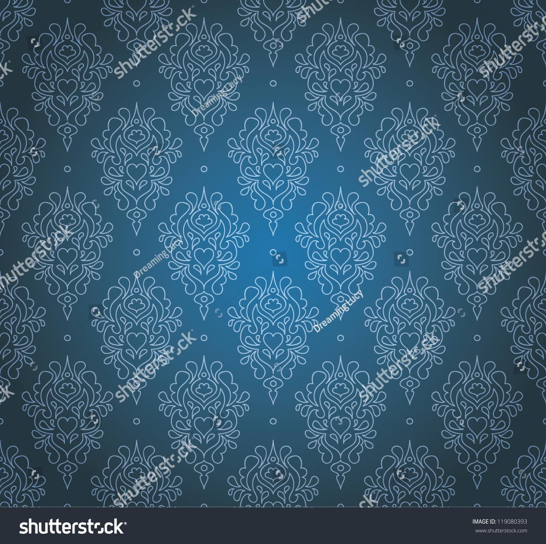 Damask Seamless Pattern Dark Love Gothic Stock Vector Royalty Free