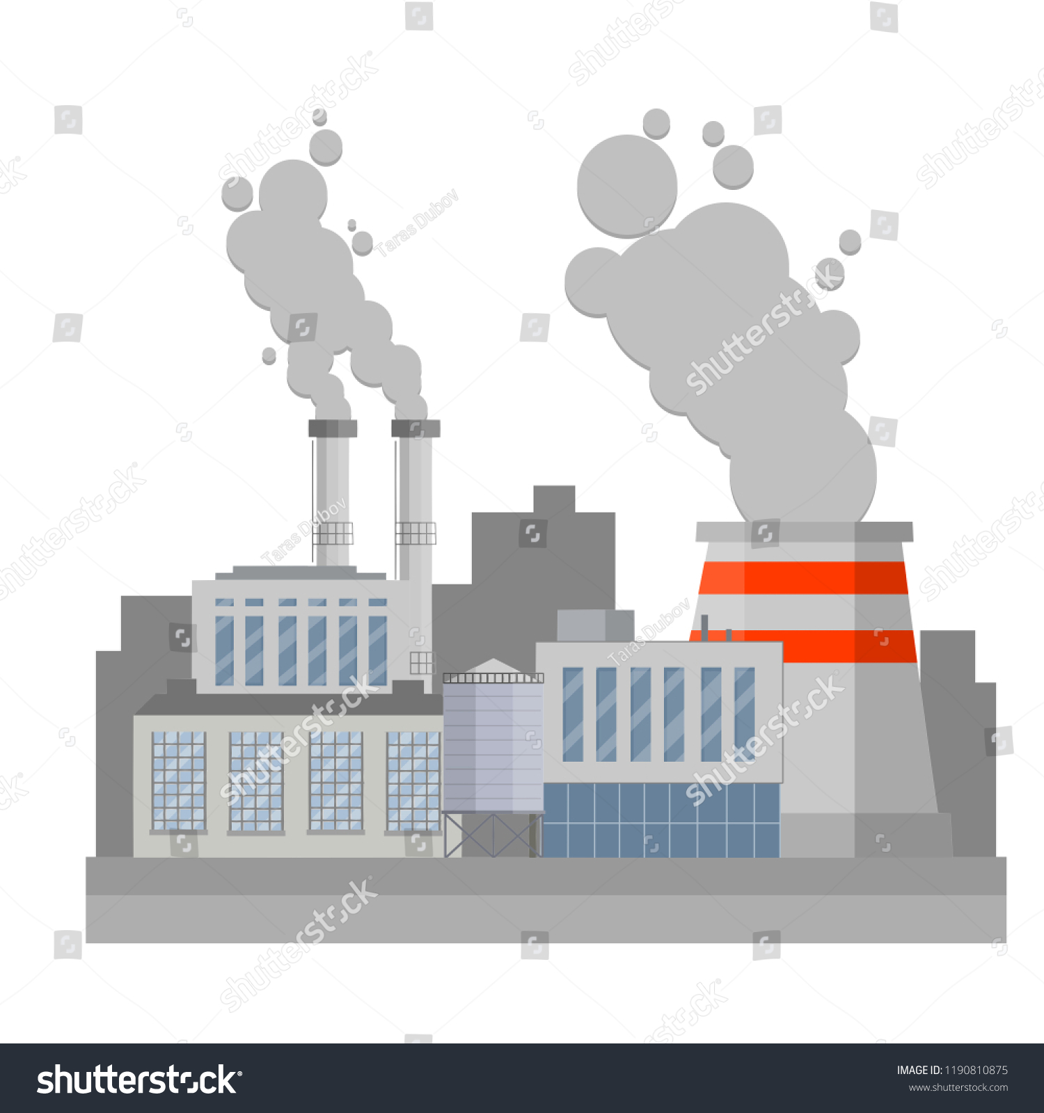 Industrial Area City Thermal Power Plant Stock Vector Royalty Free Nuclear Diagram Animation Factory For The Production Of Energy