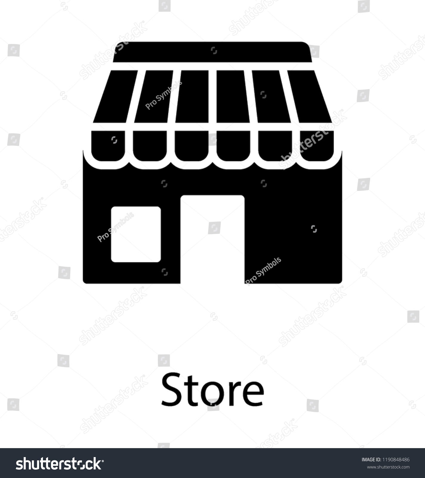 Building Having Door Windows Store Icon Stock Vector
