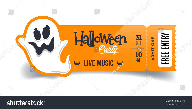 halloween party ticket template vector flyer stock vector royalty