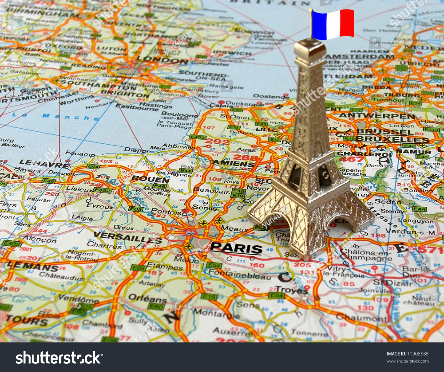 eiffel tower on a map of france stock photo 11908585