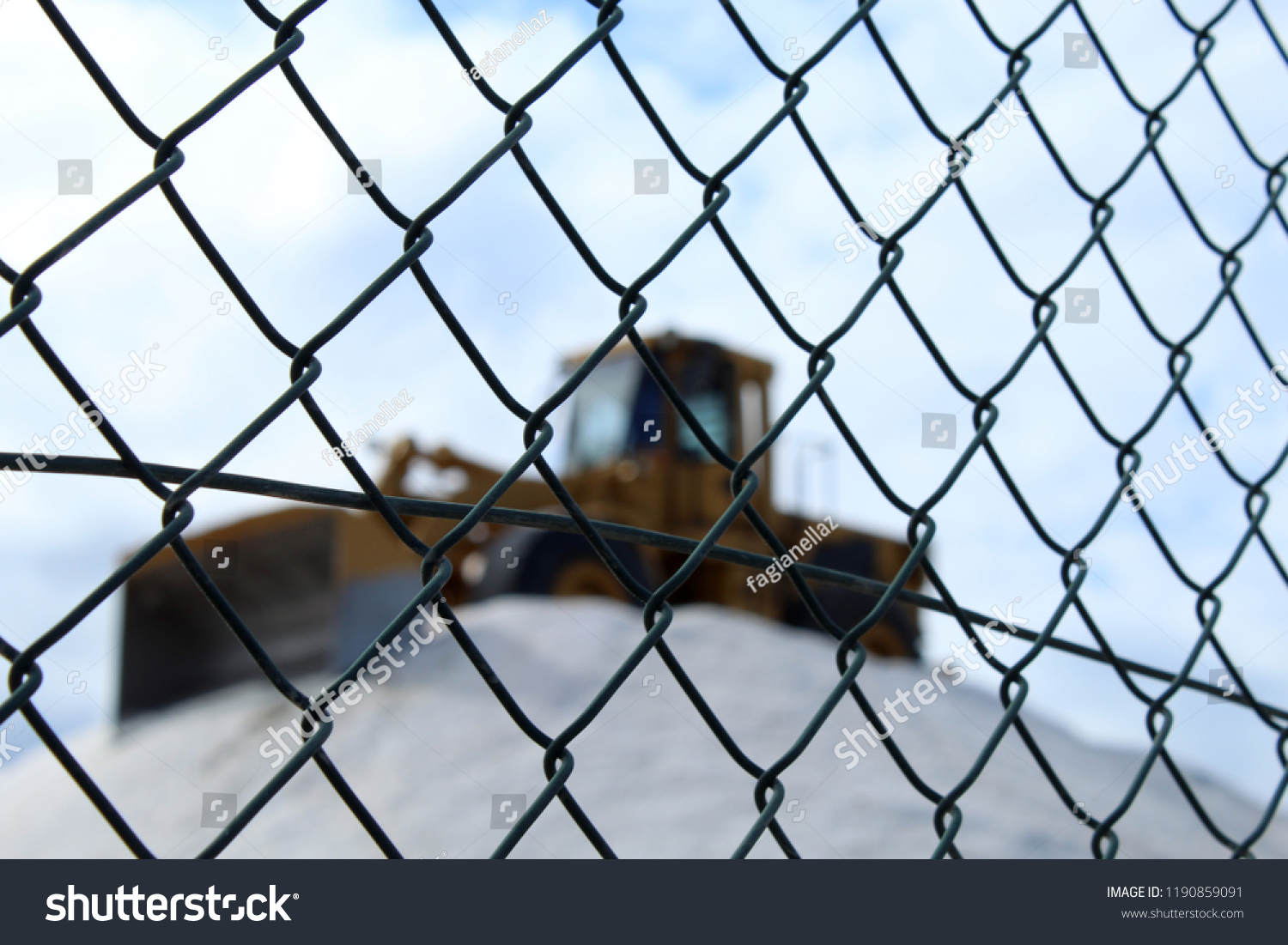Excavator On Salt Mountain Protected By Stock Photo (Edit