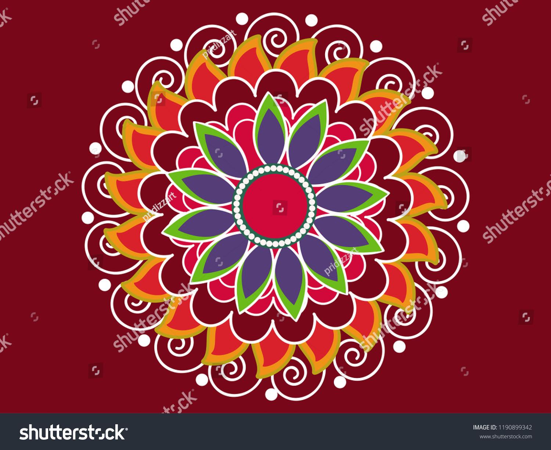 Beautiful Rangoli Design Based On Florals Stock Vector Royalty Free