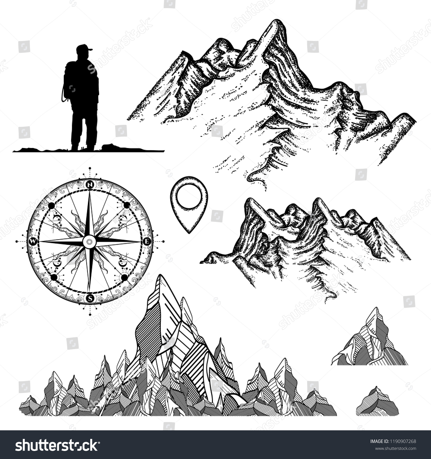 3cc99182f57ea Outdoor, tourism, camping, rock-climbing hand drawn retro style set.  Mountains