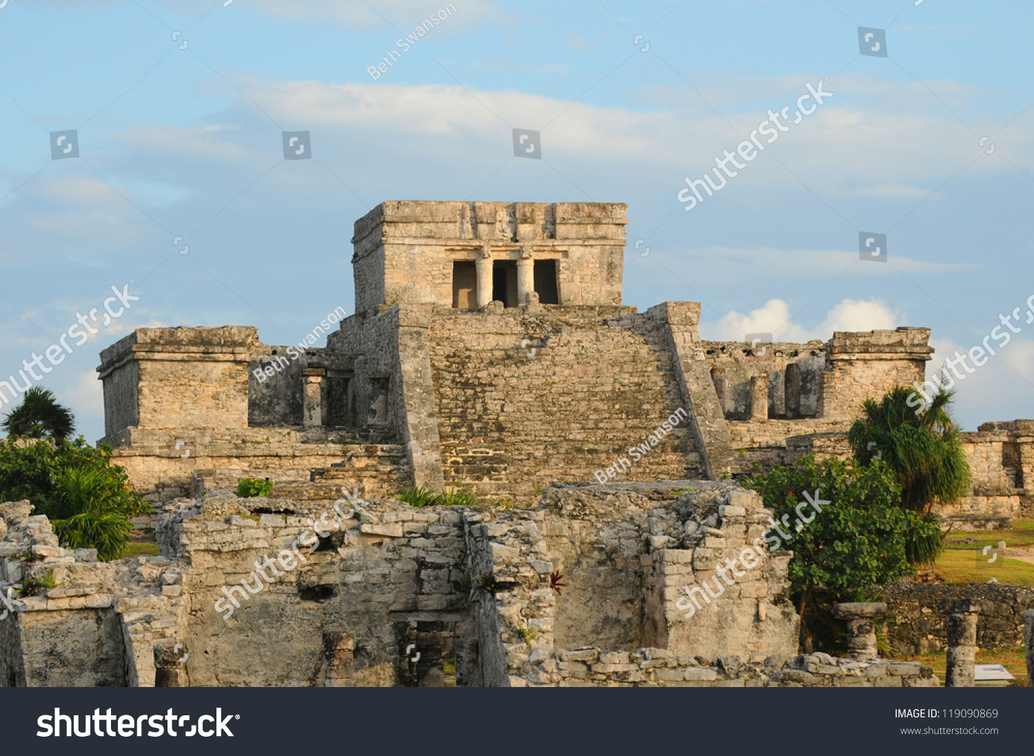 ancient mayan architecture ceremonial temple tulum stock photo