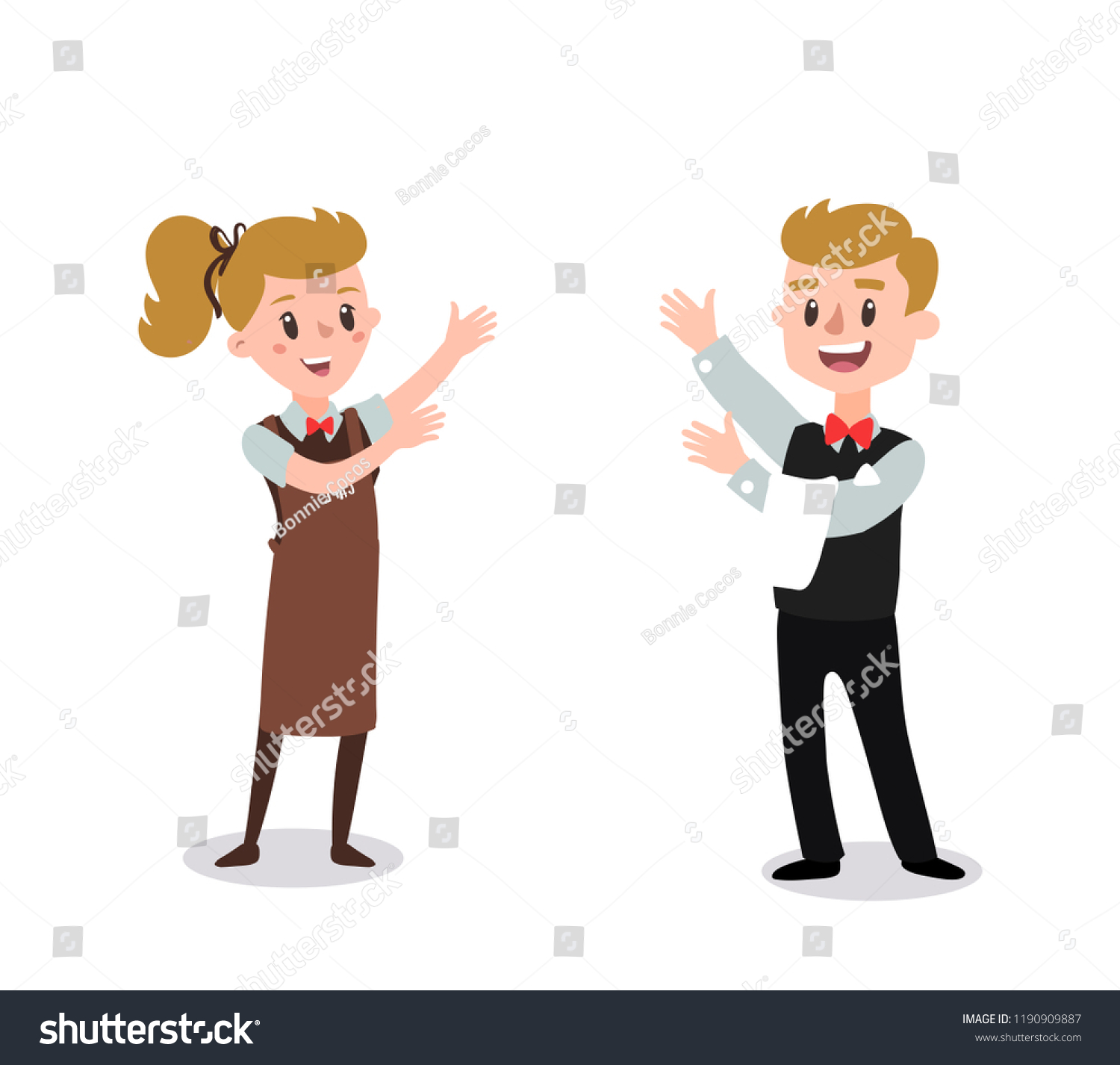 Couple of waiters wearing the uniform holding hands up fun flat cartoon personage isolated