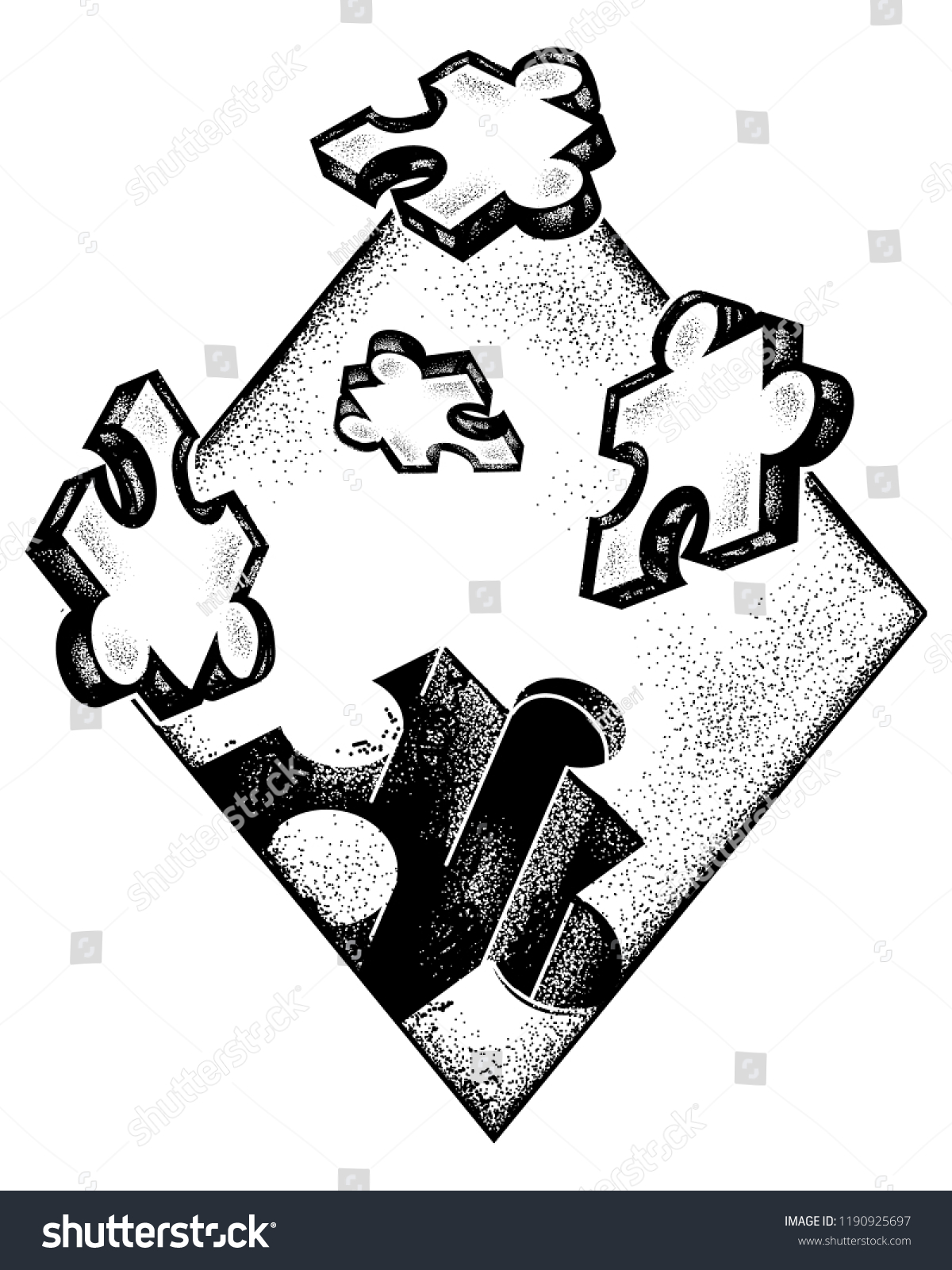 Puzzle Tattoo Art Symbol Education Business Stock Vector Royalty