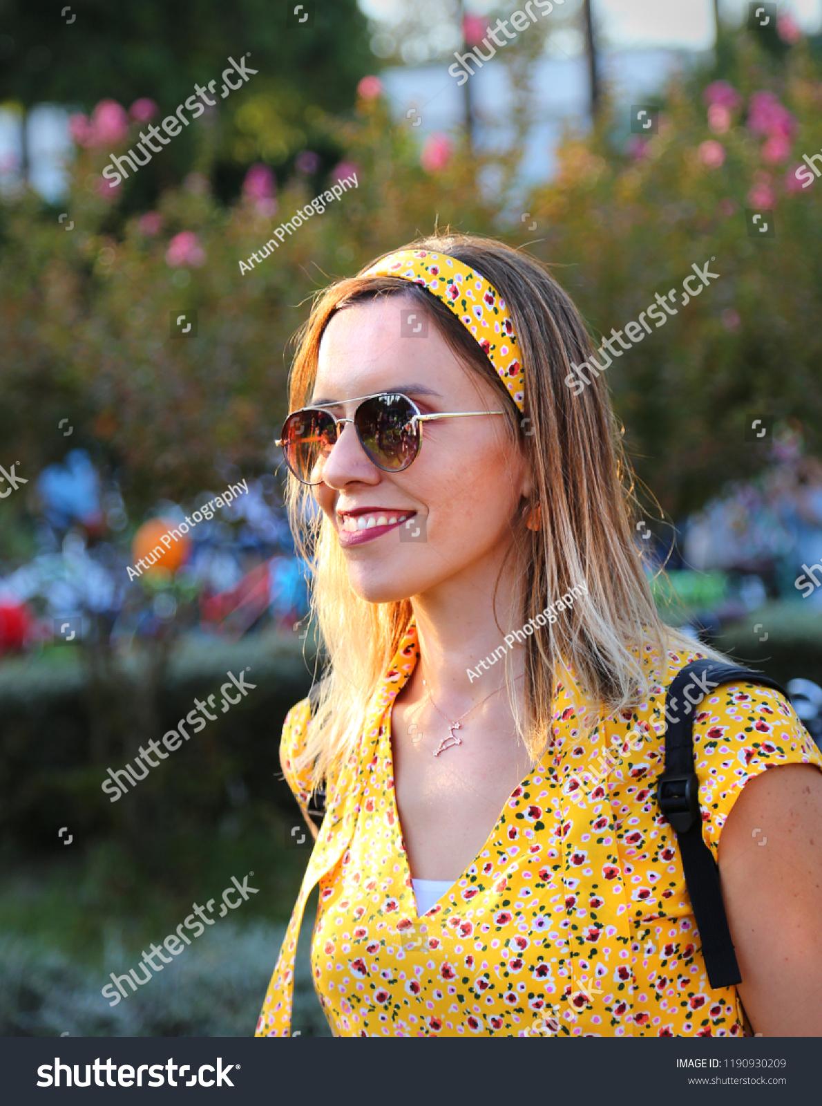 09232018 Konak Izmir Girl Smiling Yellow Stock Photo Edit Now 1190930209