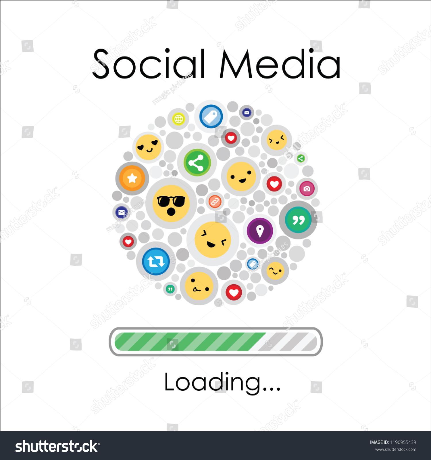 Vector Illustration Social Media Emoji Icons Stock Vector