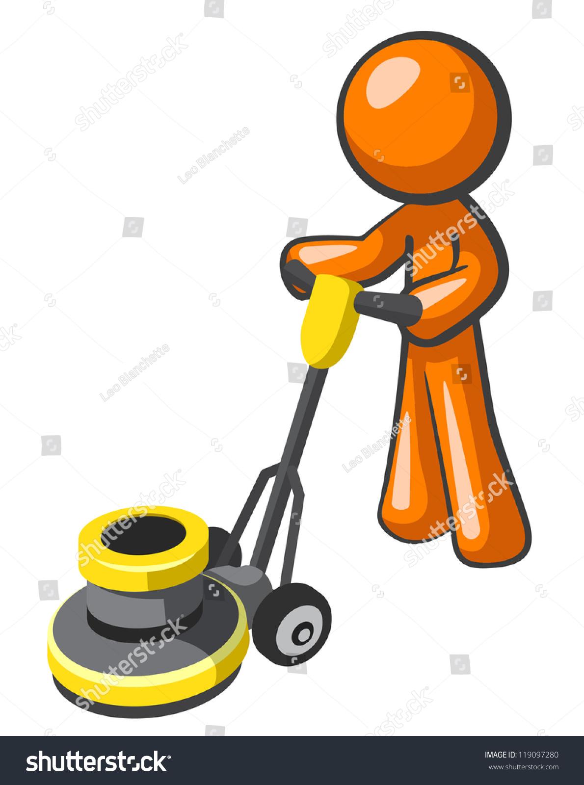Orange Man Buffing Tile Carpet Floor Stock Vector