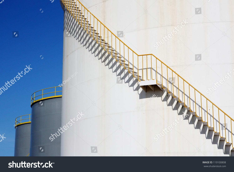 White Chemical Storage Tank Spiral Stairs Stock Photo