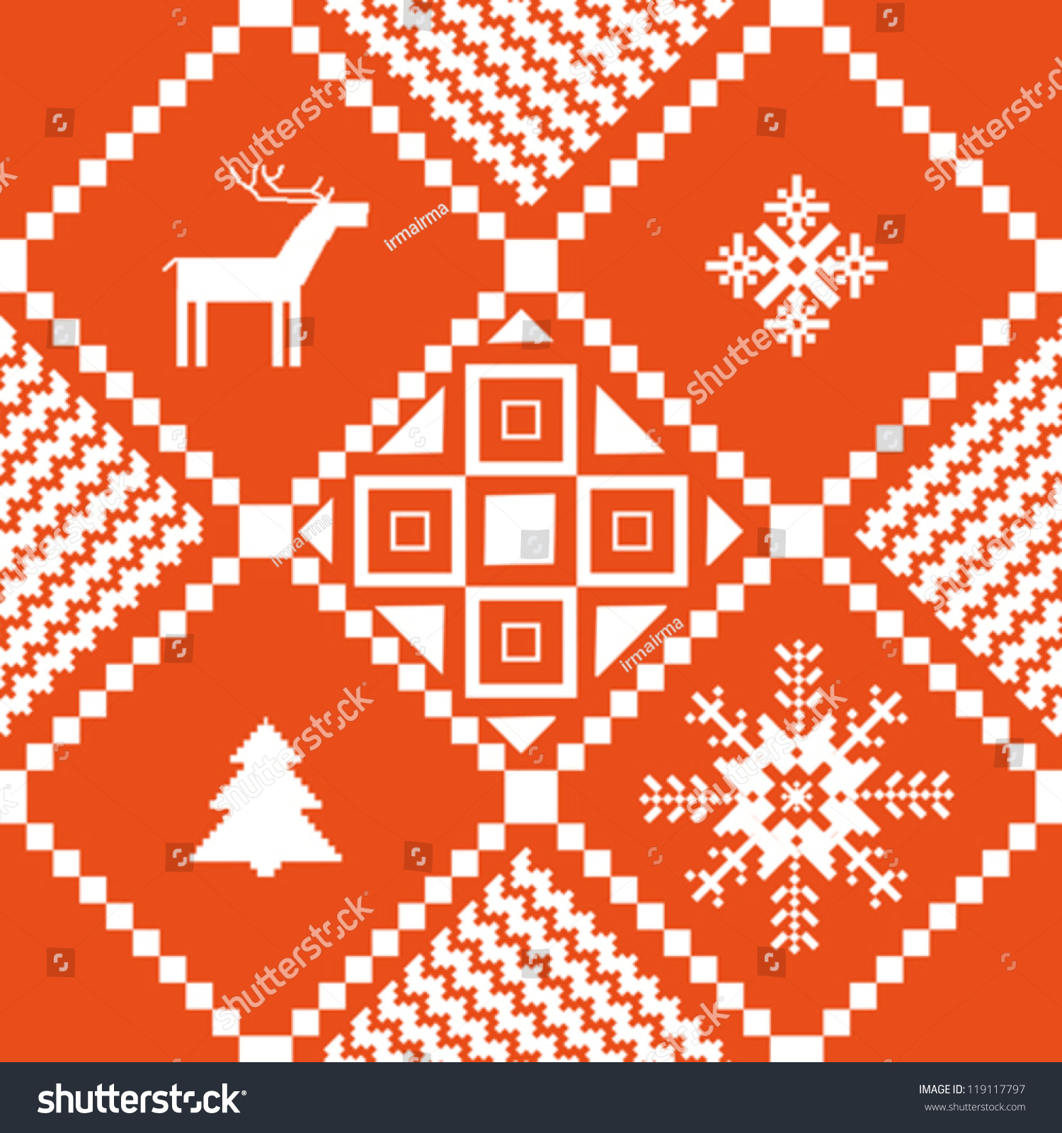 Traditional Norway Christmas Ornamental Knitted Pattern Stock Vector ...