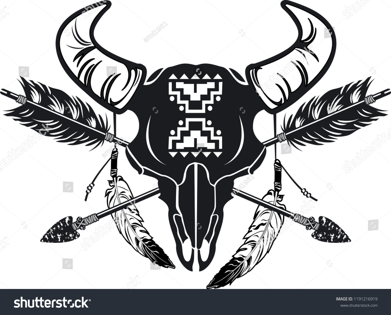 Native American Indian Symbol Buffalo Skull Stock Vector Royalty