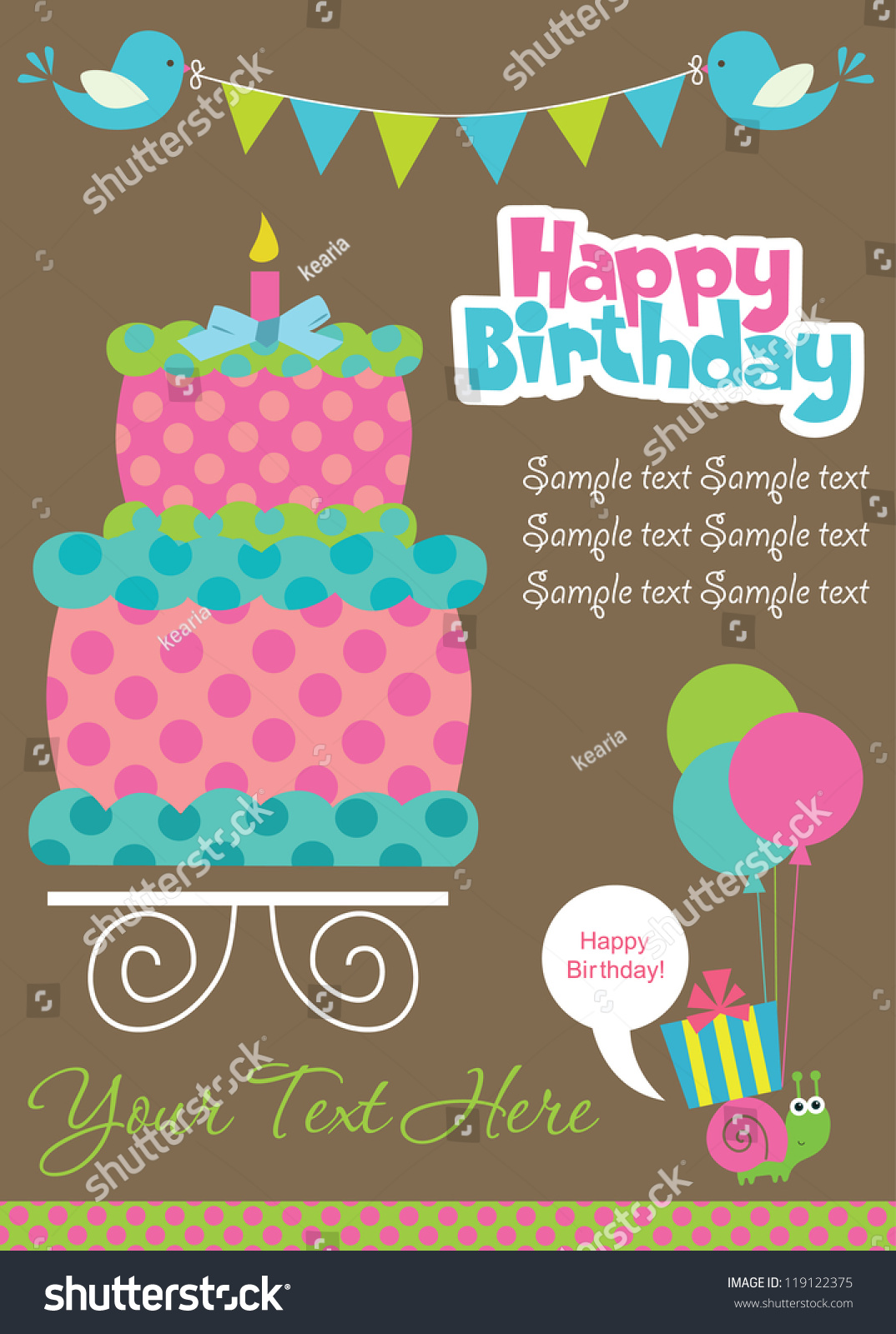 Happy Birthday Cake Card Design Vector Stock Vector Royalty Free