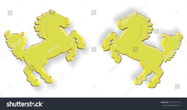 3d Free Golden Horses Symbol Free Stock Illustration 1191231313