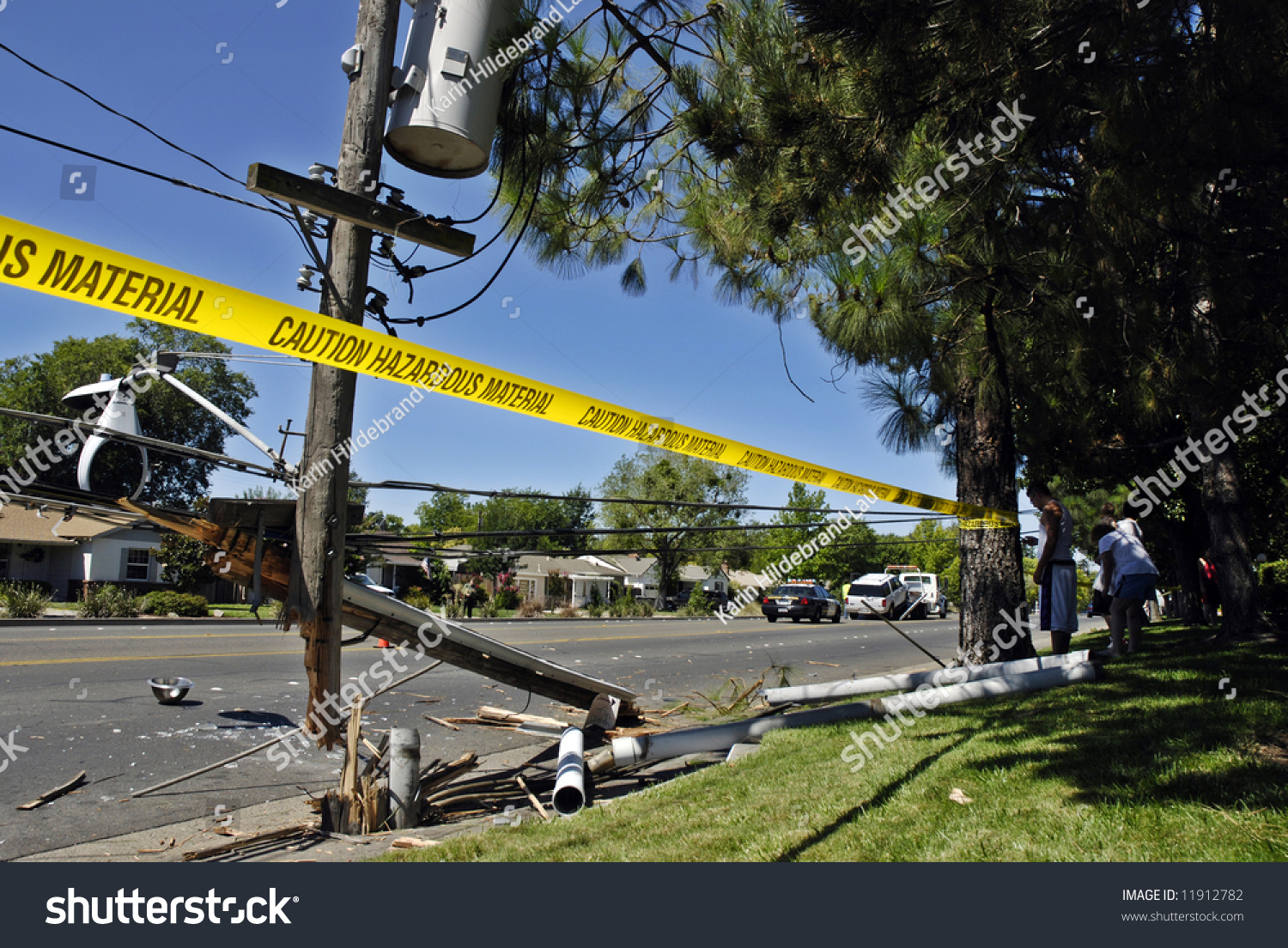 Destroyed Power Pole After Suv Crashed Stock Photo ...