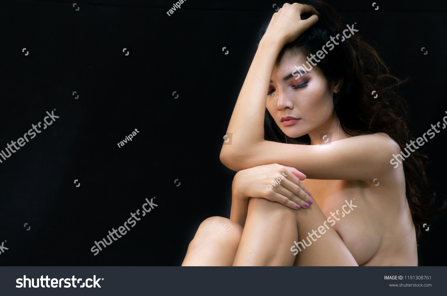 Theme nude art model sitting