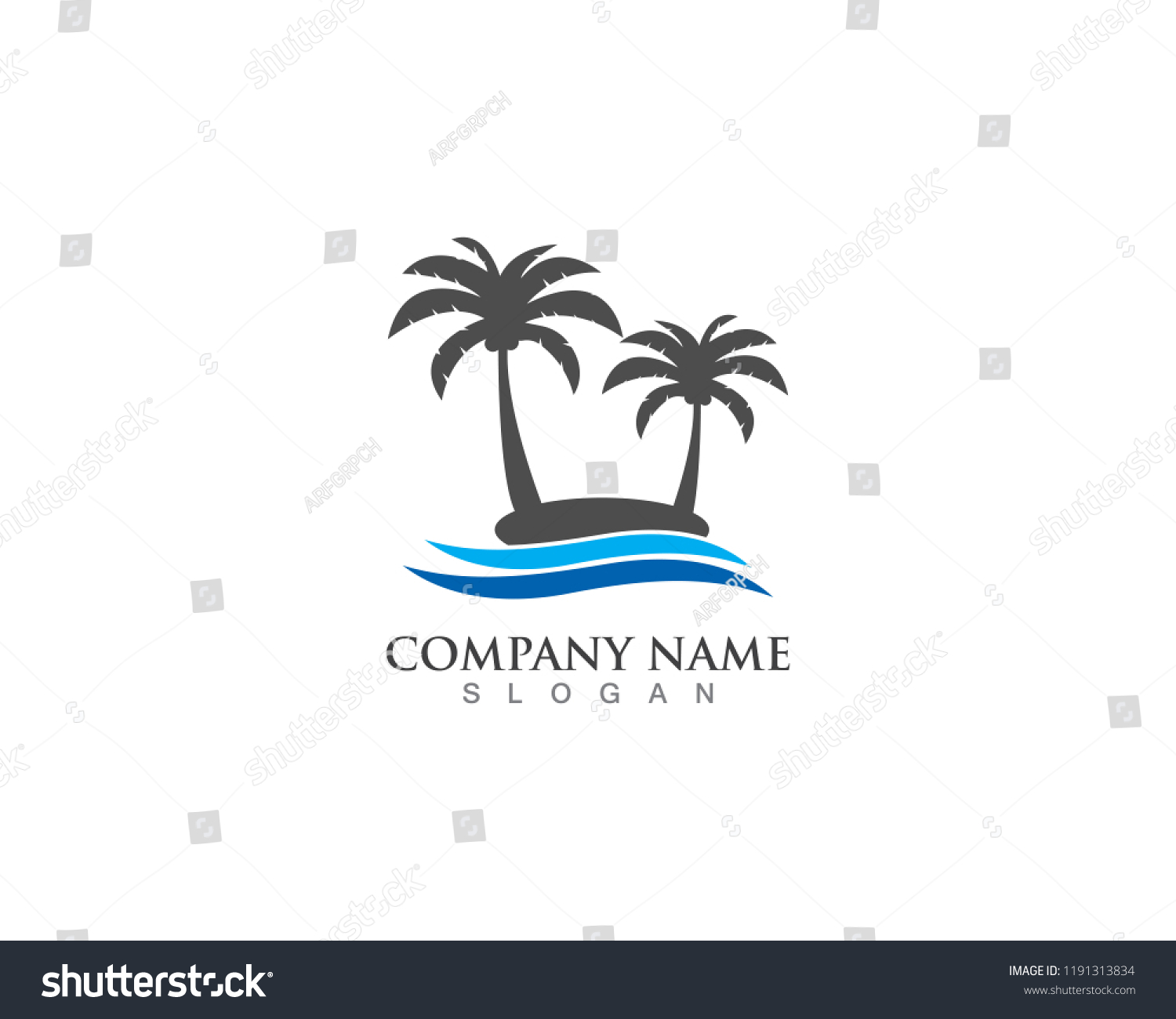 palm logo tree template vector illustration stock vector royalty