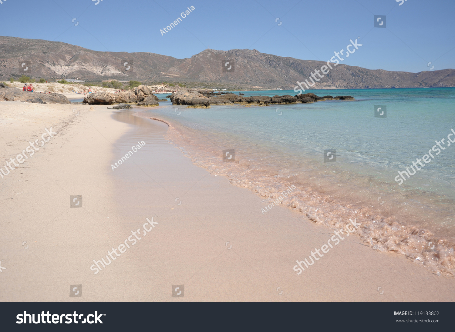 Pink Sand Beach Elafonisi Crete Greece Stock Image