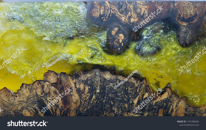 Epoxy Resin Stabilizing Afzelia Burl Exotic Stock Photo