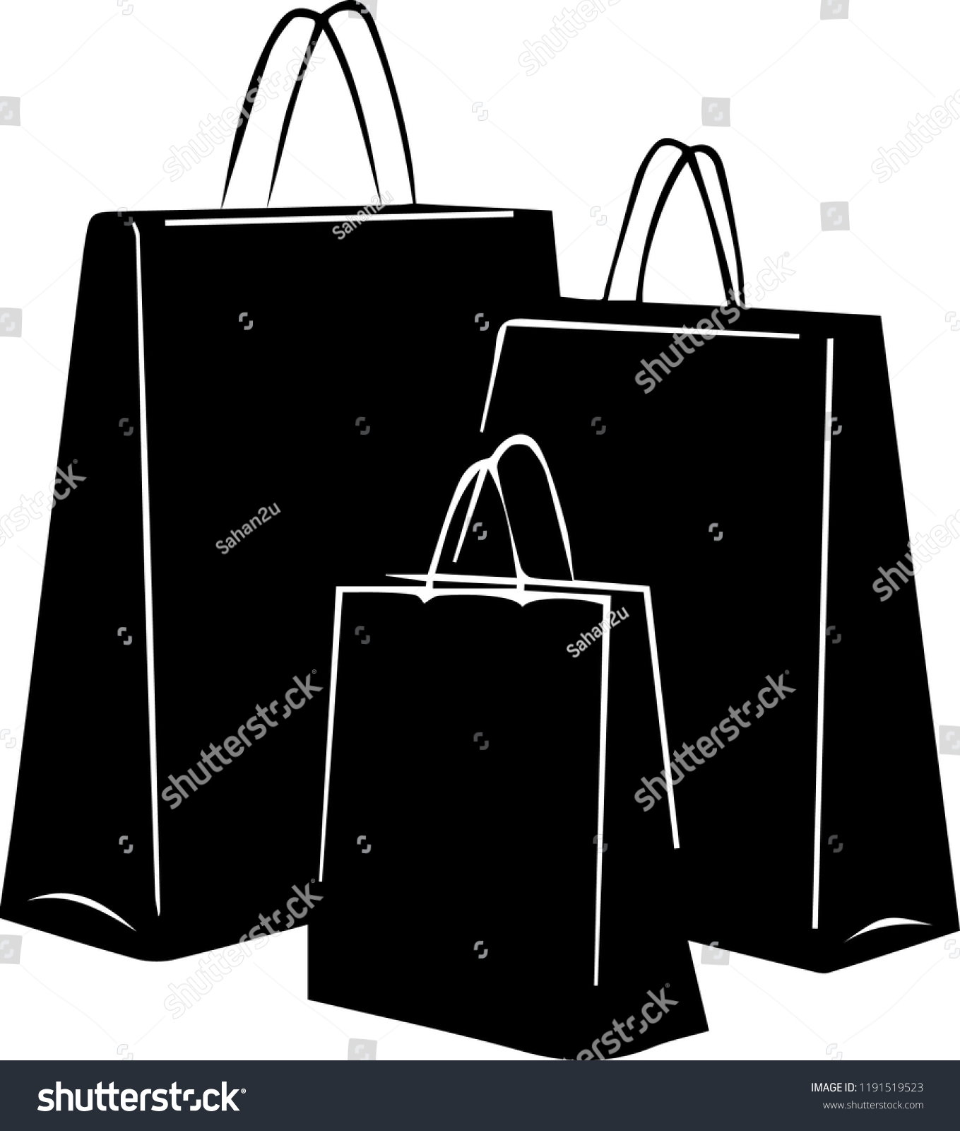 Three black silhouette fashion grocery paper bag for shopping items or logo  icon 9f442049e21