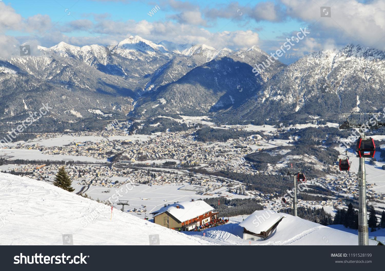 aerial view alpine village ski resort stock photo (edit now