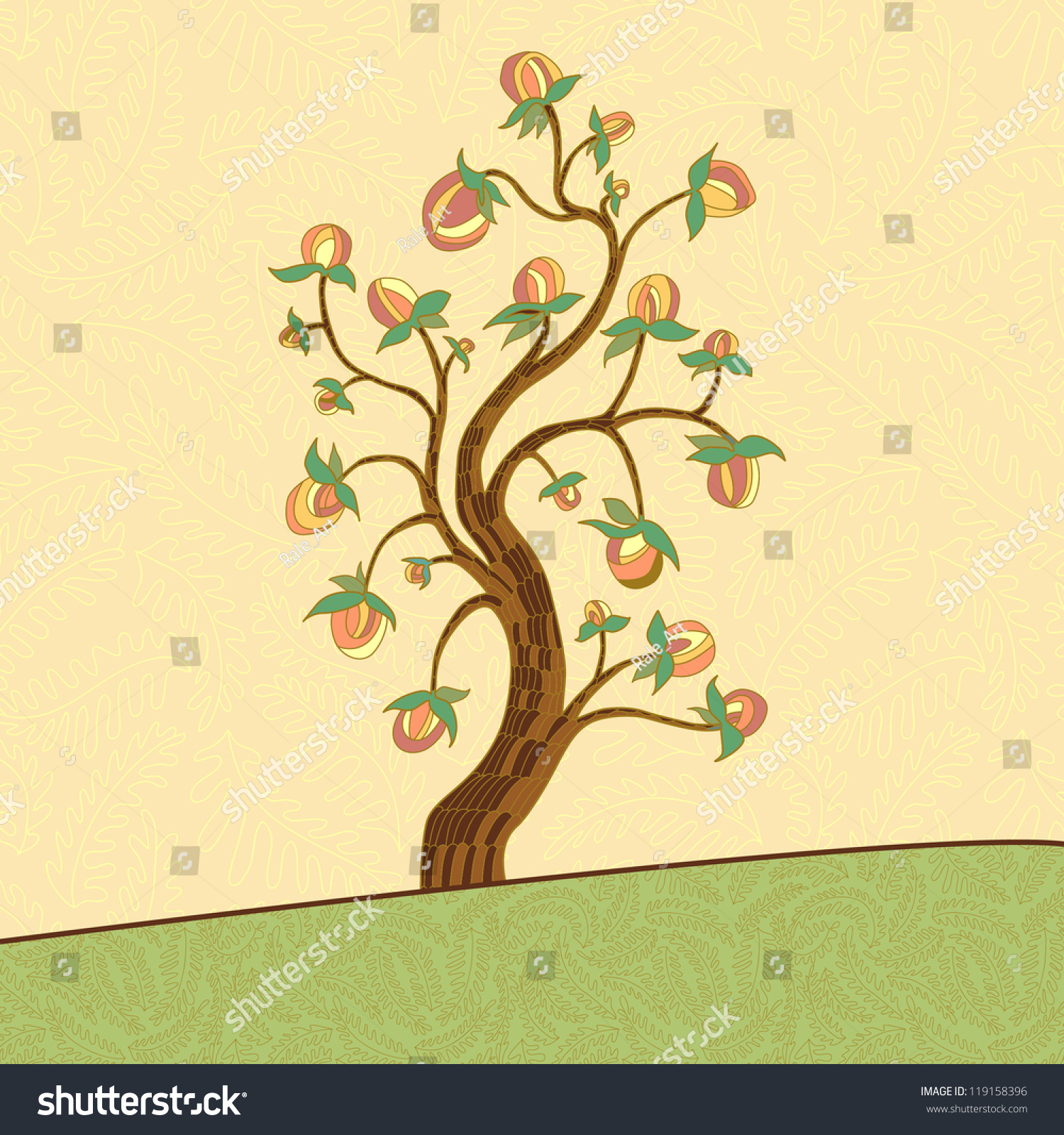 Peach tree vector illustration stock vector 119158396 for Peach tree designs