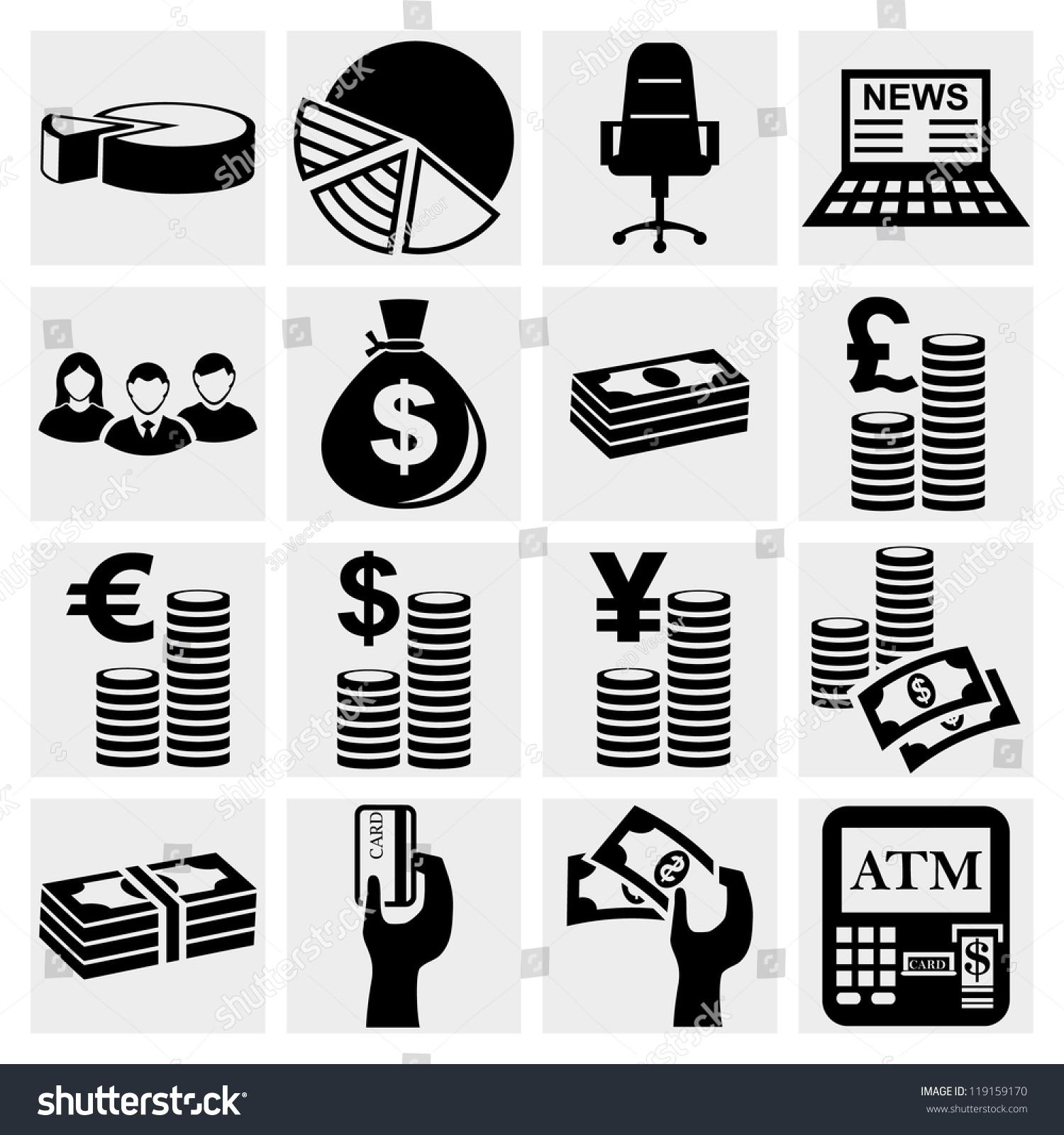 Finance Icon Set: Money Icons Set Finance Icon Set Stock Vector 119159170