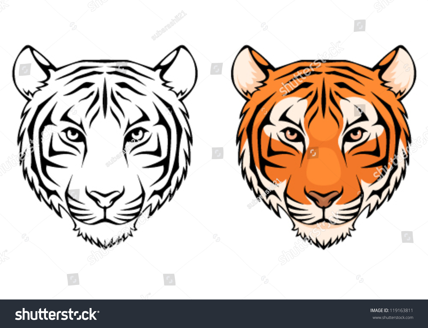 Line illustration tiger head suitable tattoo stock vector line illustration of a tiger head suitable as tattoo team mascot symbol for biocorpaavc