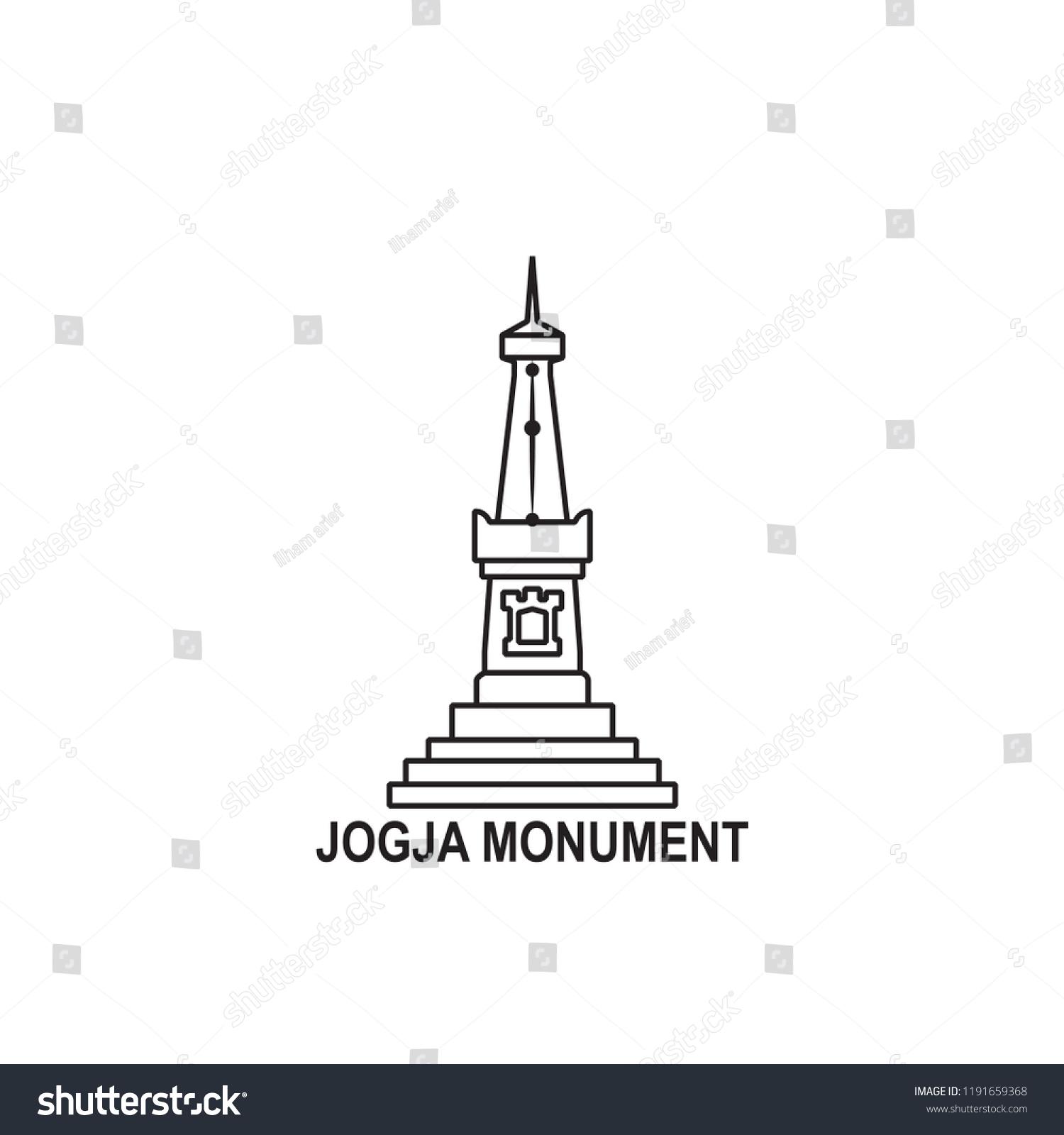 Tugu Jogja Icon Outline Stock Vector Royalty Free