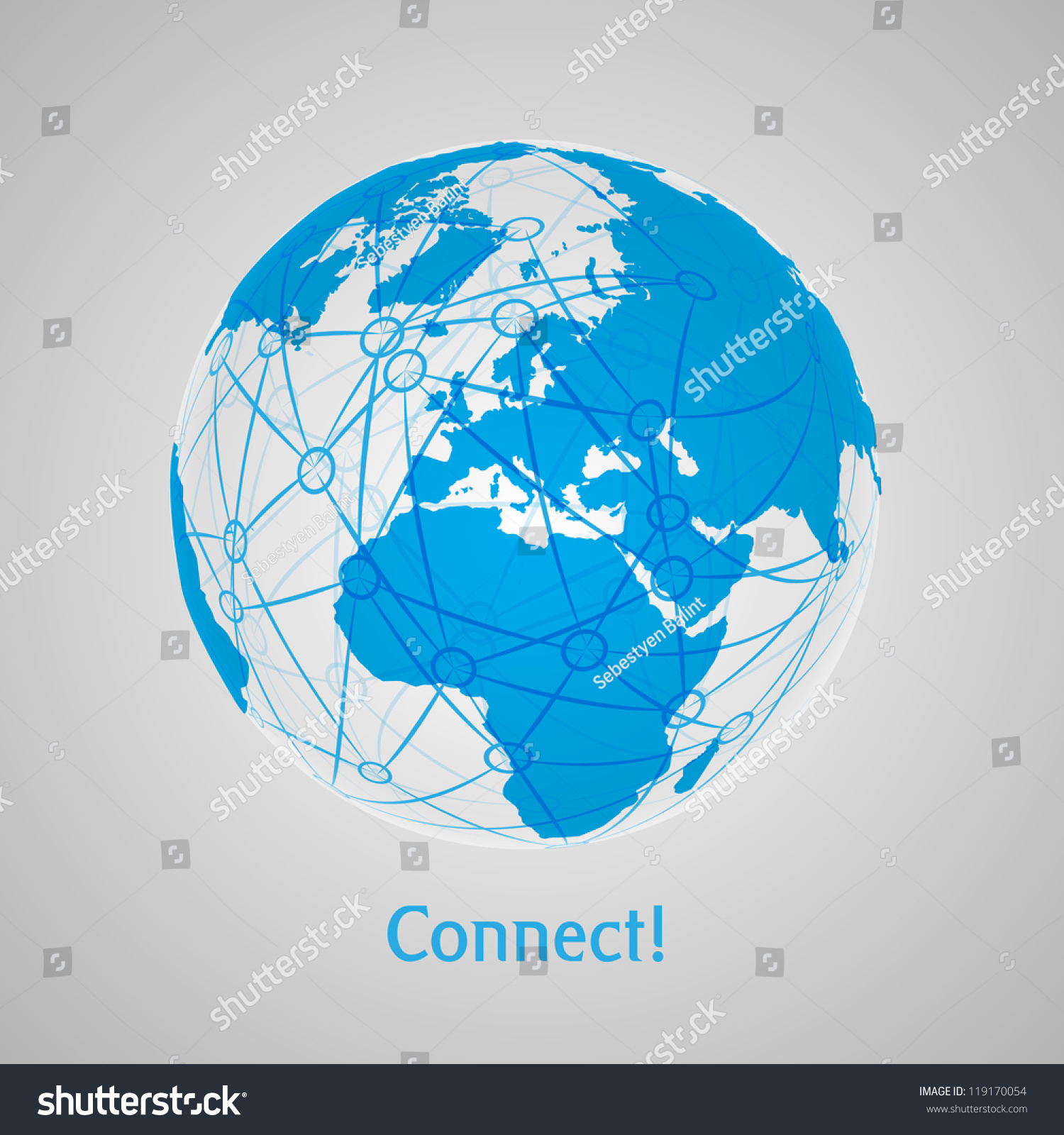 Connect World Abstract Concept Art Map Stock-vektorgrafik 119170054 ...