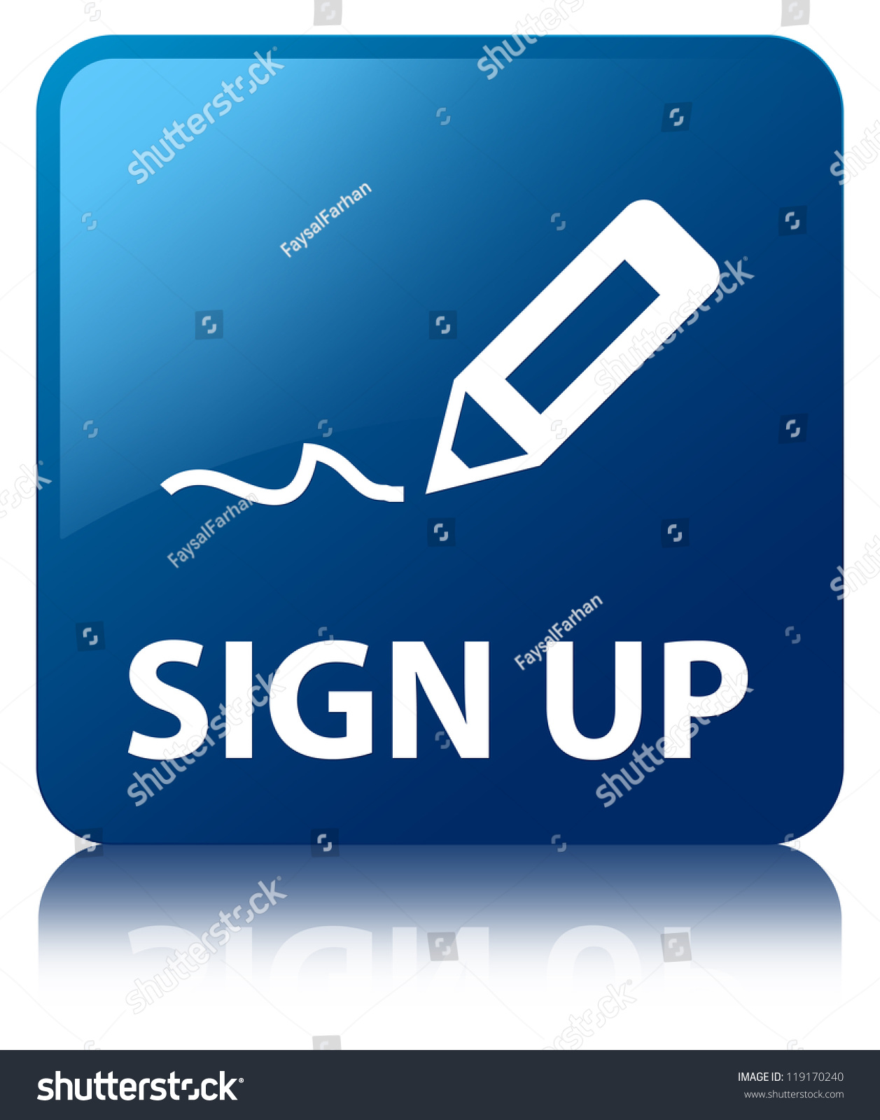Sign Up Glossy Blue Reflected Square Button Stock Photo ...