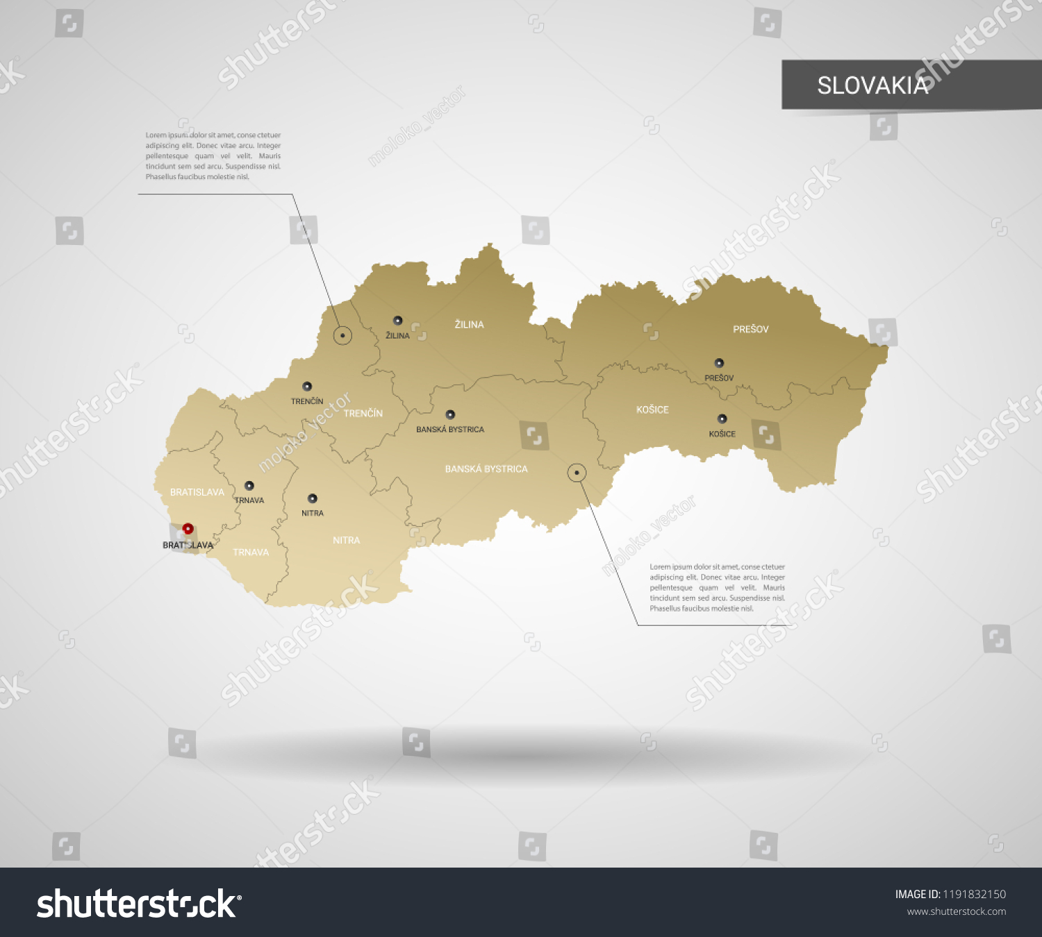 stylized vector slovakia map infographic 3d gold map illustration with cities borders capital