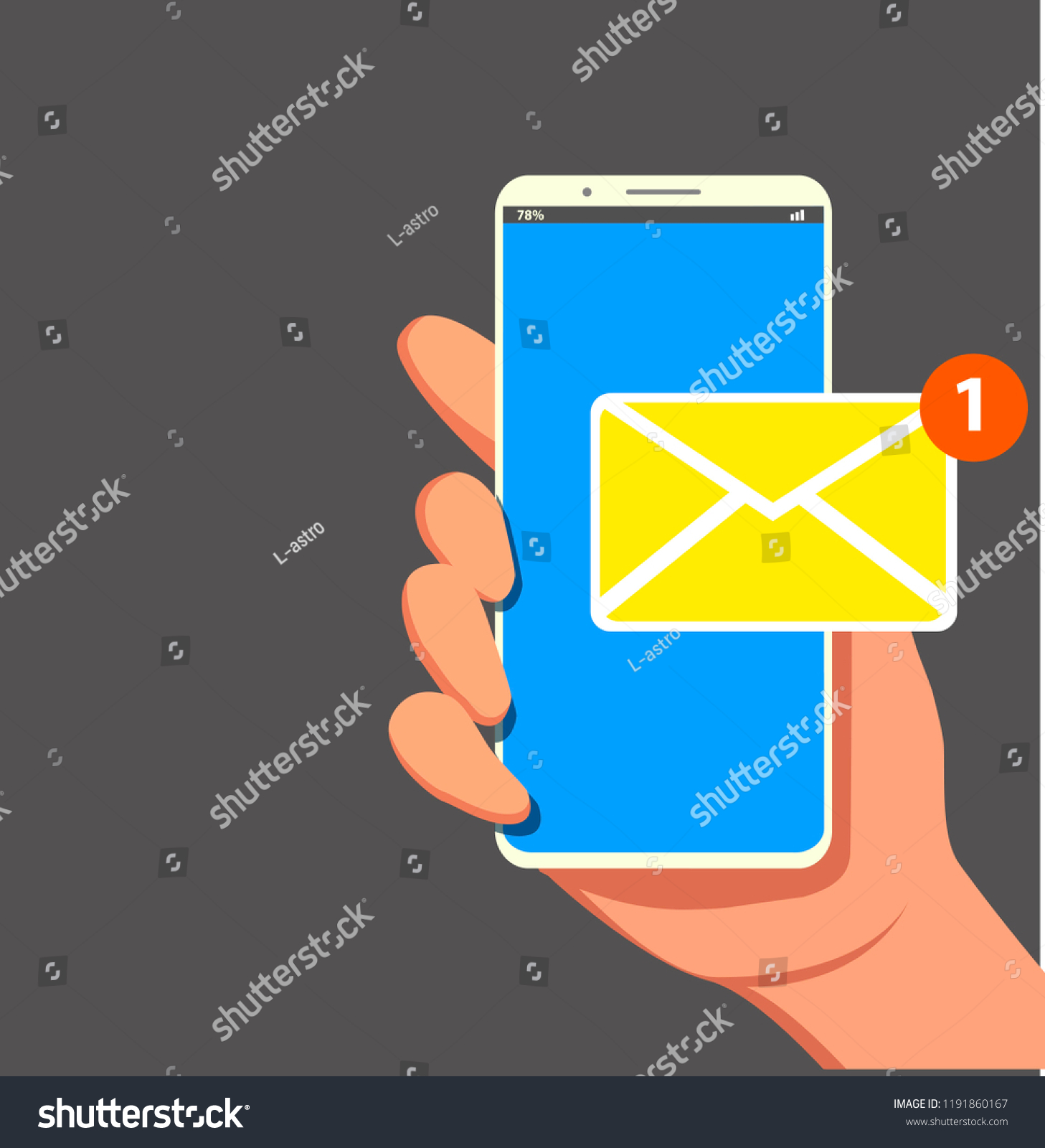 How To Read Cellphones Schematic Diagrams New Email Notification On Mobile Phone Stock Vector Royalty Free Smartphone Screen With Unread E Mail Message