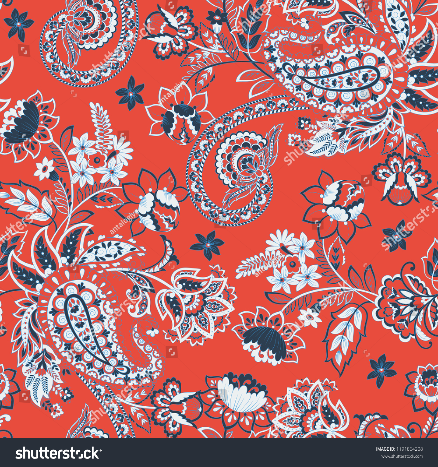 Paisley Pattern Seamless Vintage Floral Background Stock Vector