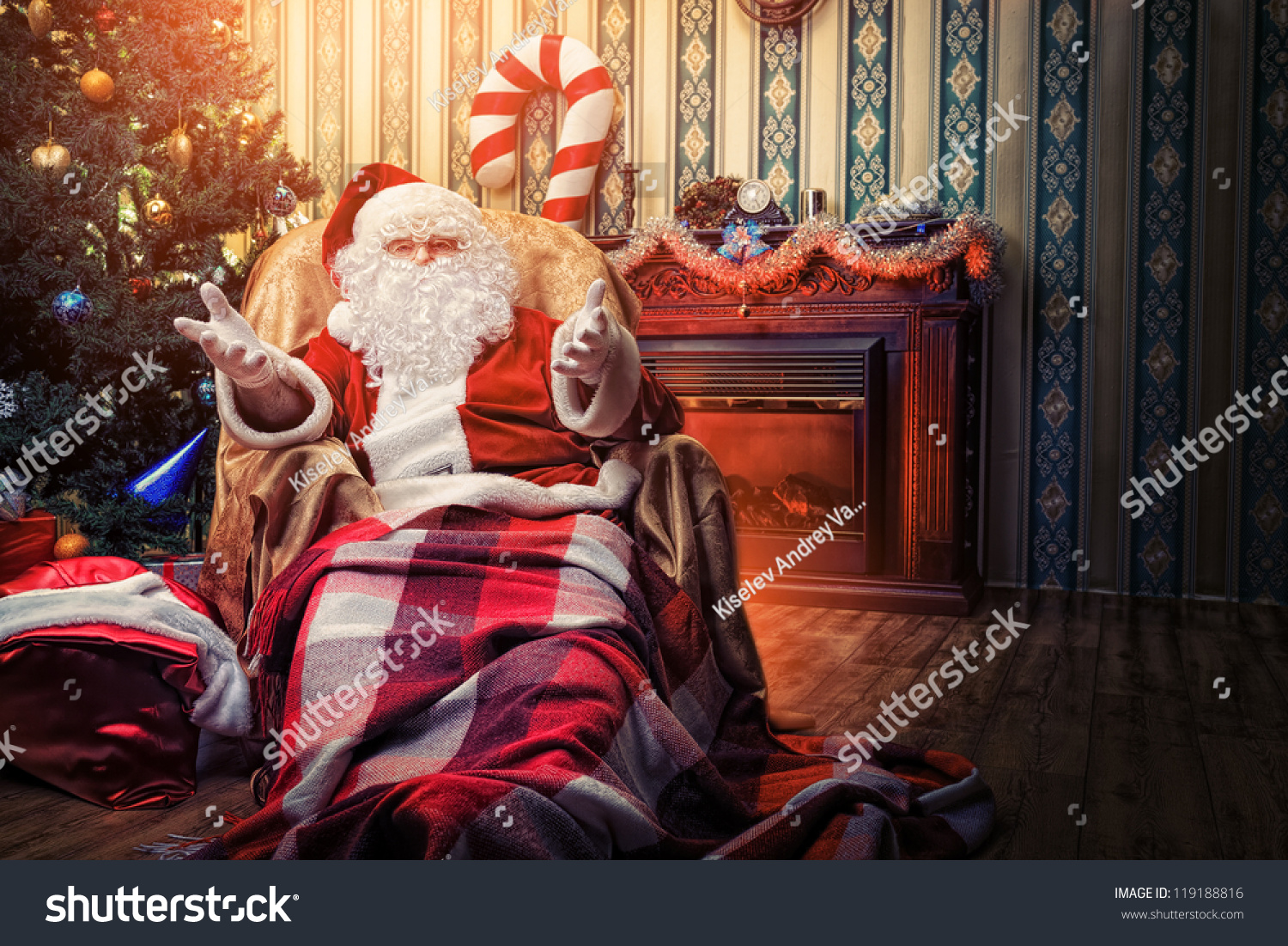 Home Interiors Gifts Inc Website Santa Claus Having Rest Comfortable Chair Stock Photo