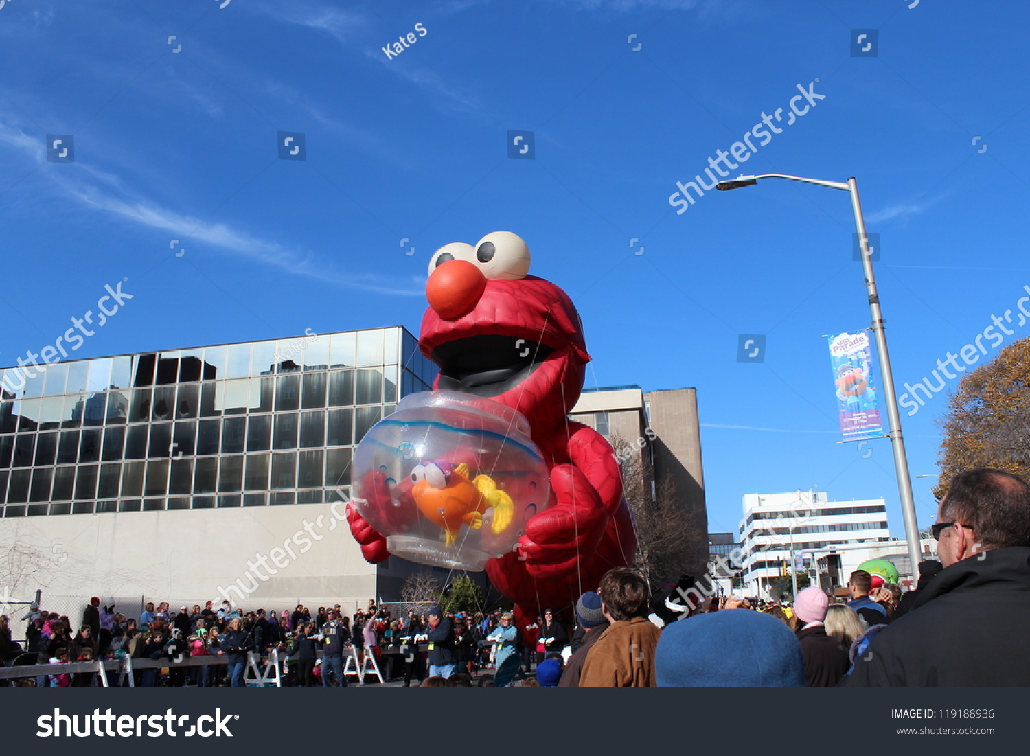 Stamford ct november 18 2012 a giant elmo is holding for Fish stamford ct