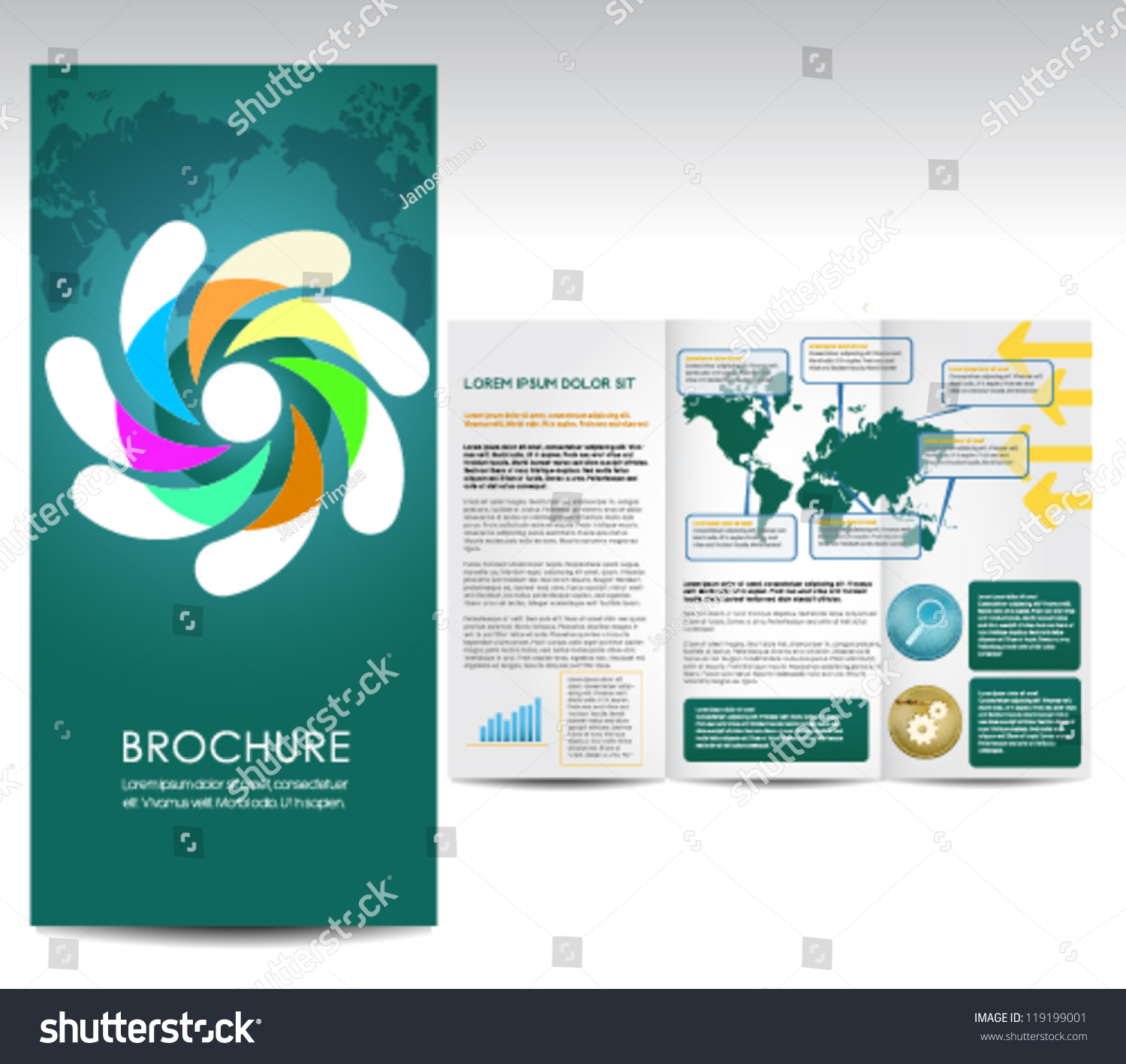 Fold Over Name Plate Template Stock Vector Tree Fold Brochure Template
