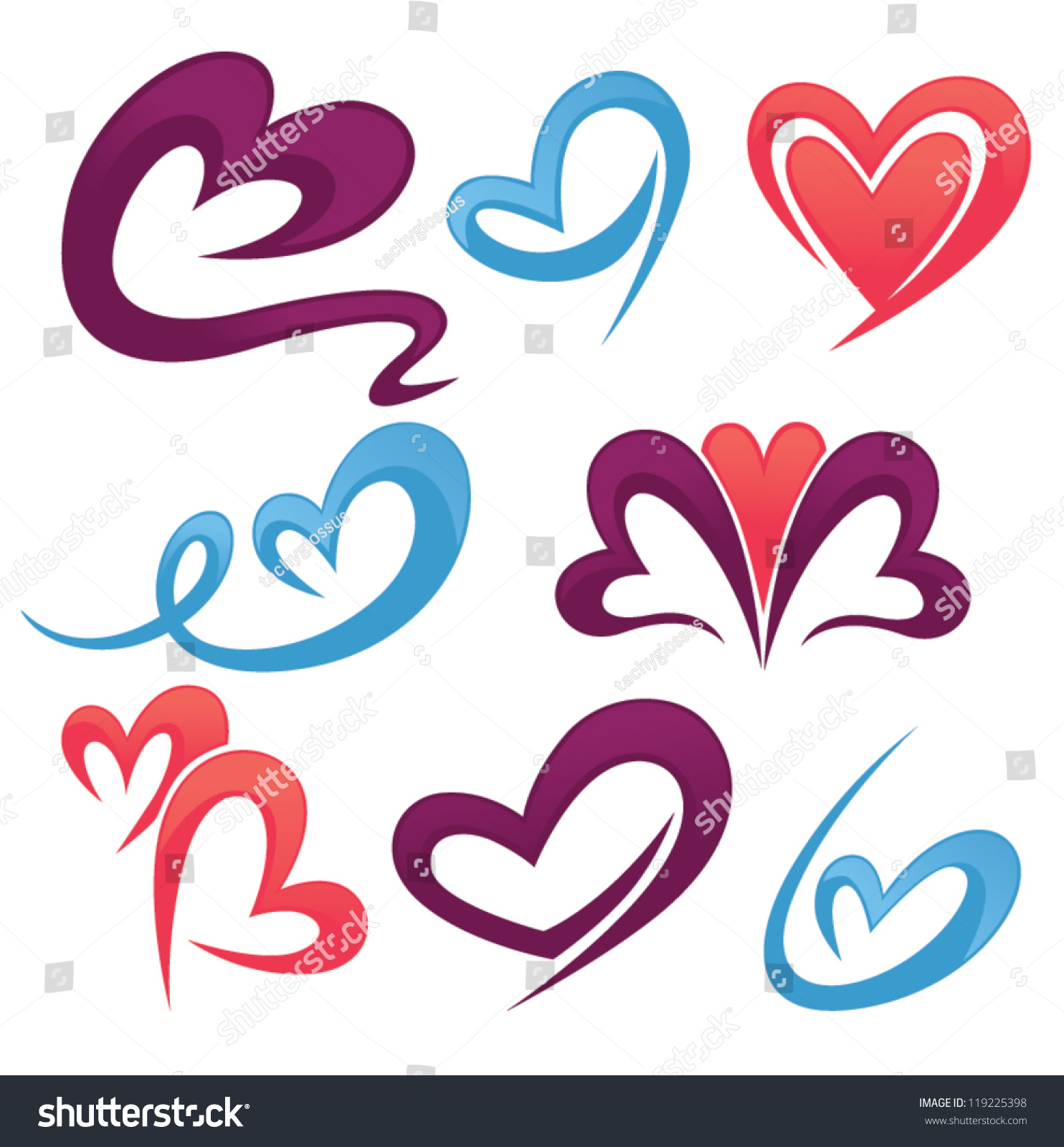 Vector Collection Love Symbols Signs Forms Stock Vector Royalty
