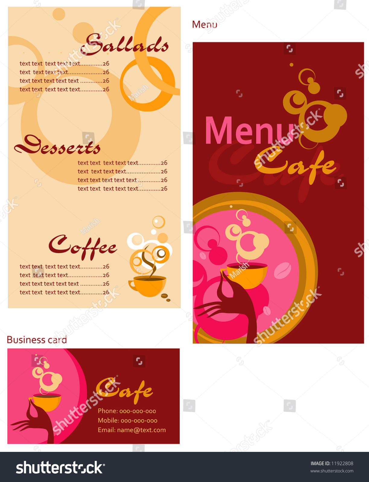 Template Designs Menu Business Card Cafe Stock Vector ...
