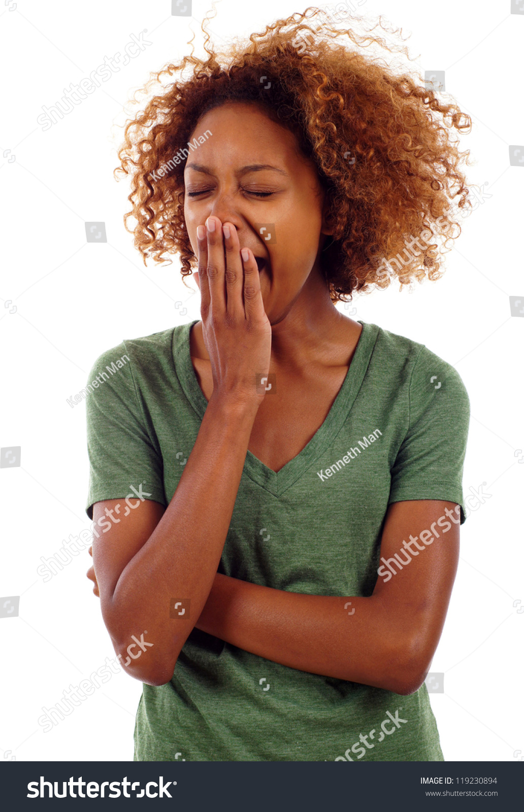 Tired Sleepy Black Woman Yawning Isolated Stock Photo ...
