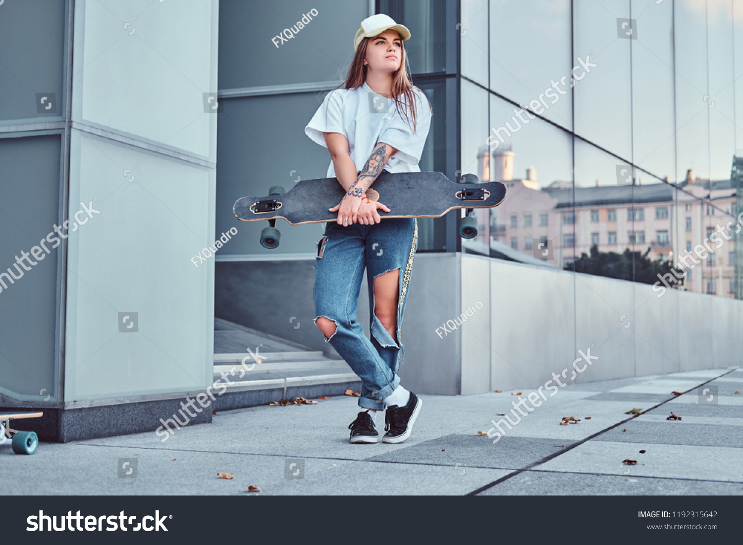 Young hipster girl cap dressed white stock photo edit now