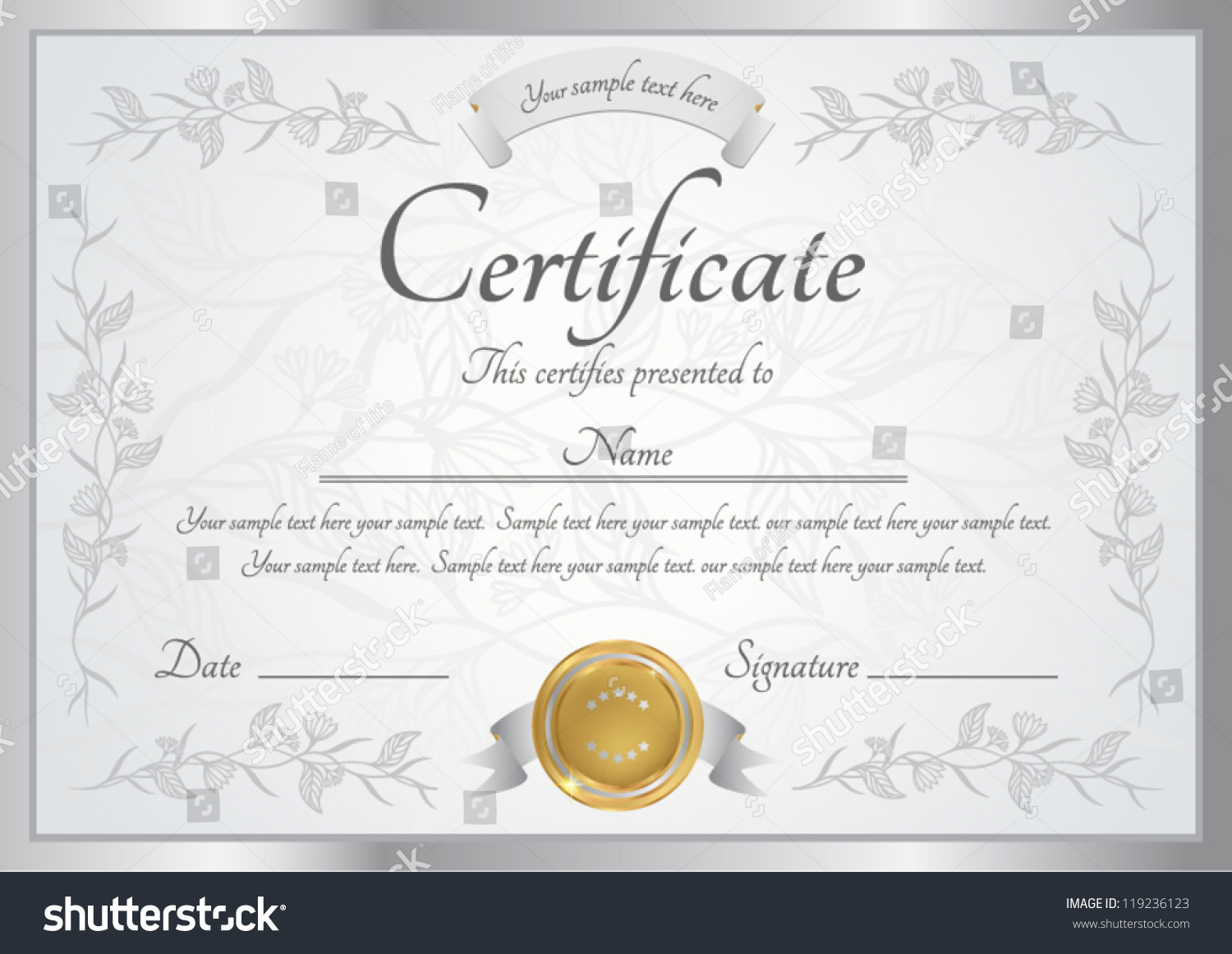 Silver certificate completion template vector stock vector silver certificate of completion template vector xflitez Images