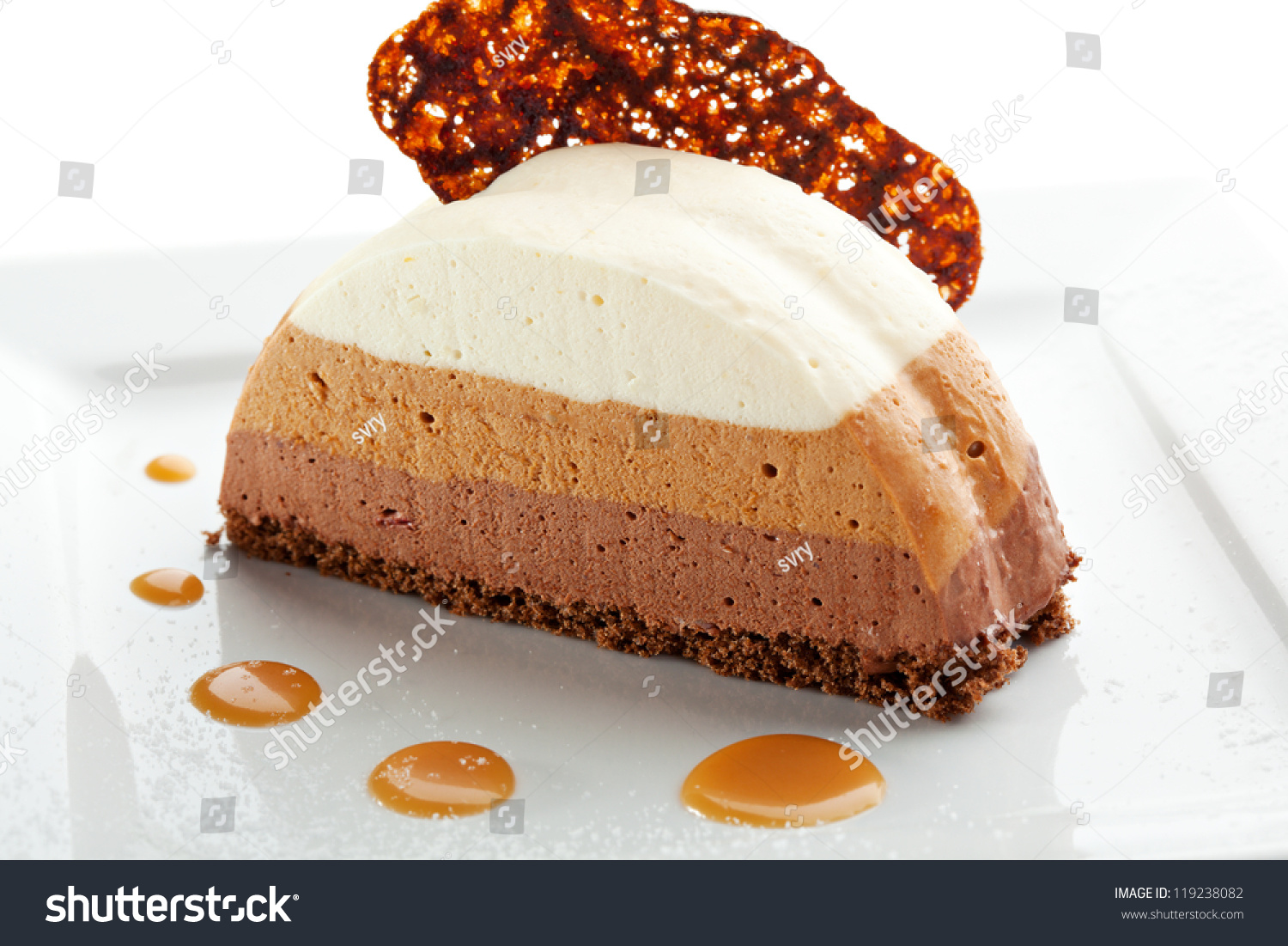 Dessert - Three Layer Chocolate Cake Stock Photo 119238082 ...