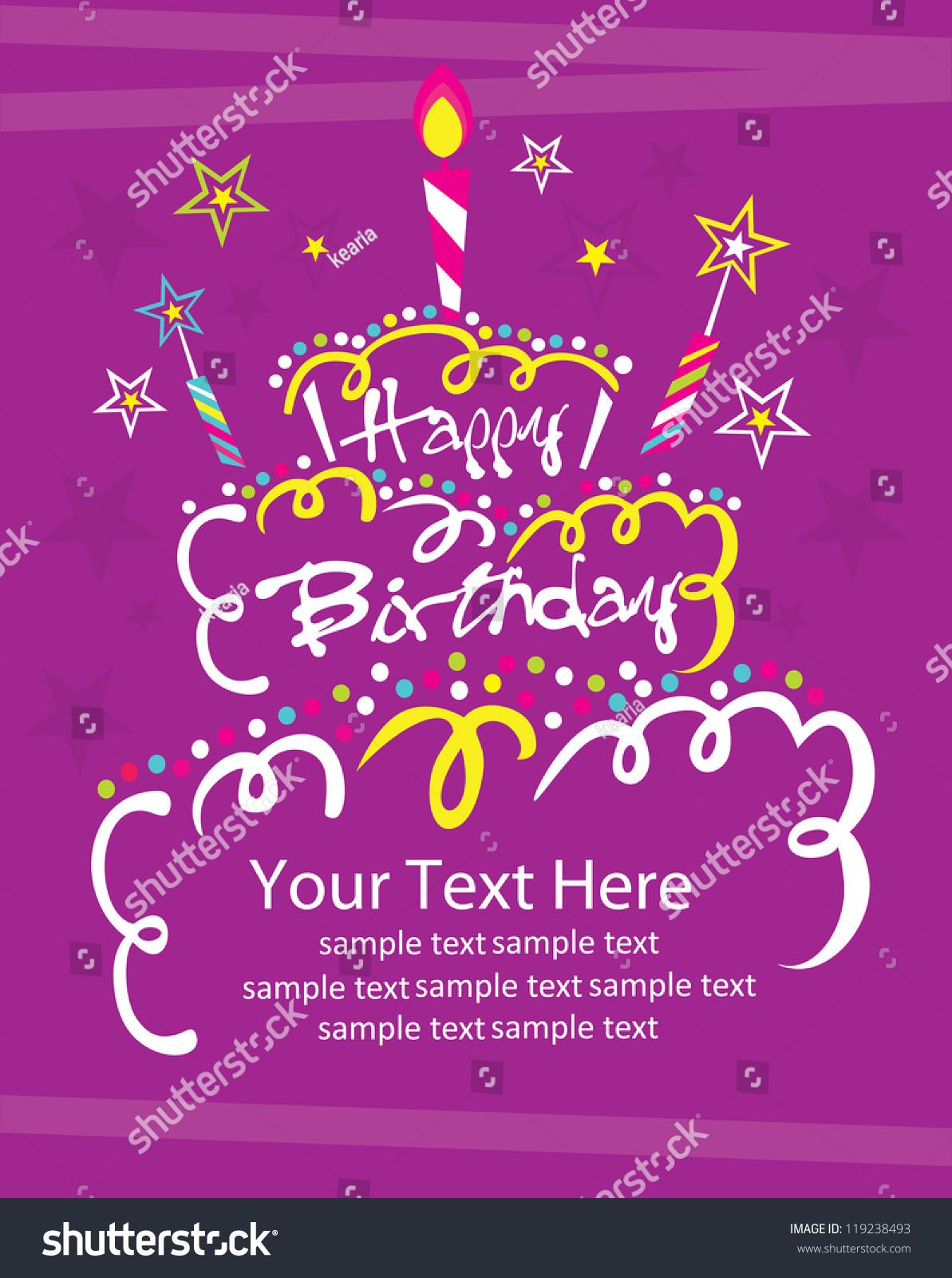 Happy Birthday Cake Card Design Vector Image Vectorielle 119238493