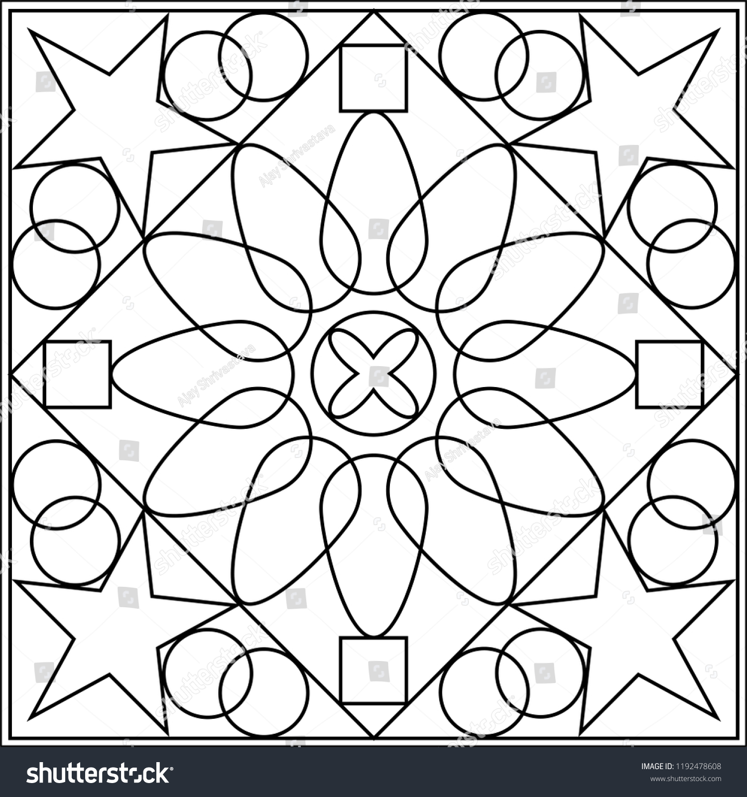 Geometric Coloring Page Geometric Shape Outline Stock Vector