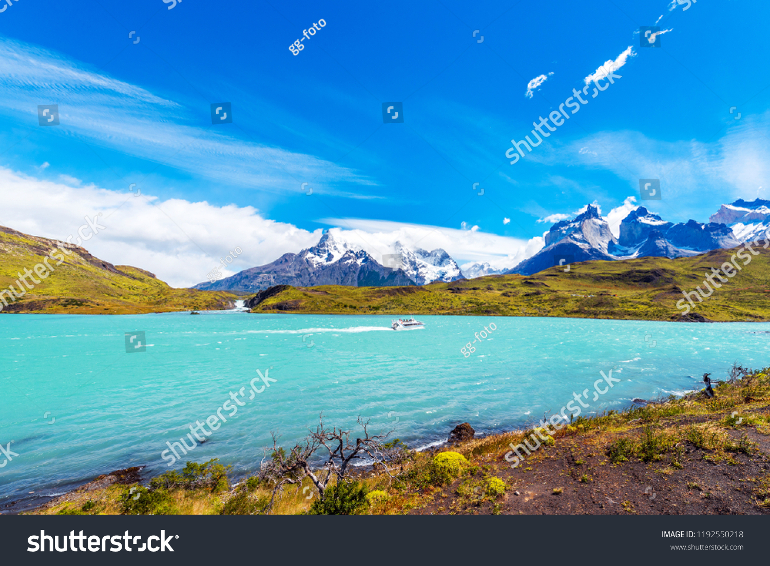 Boat On Lake Pehoe Torres Del Stock Photo (Edit Now