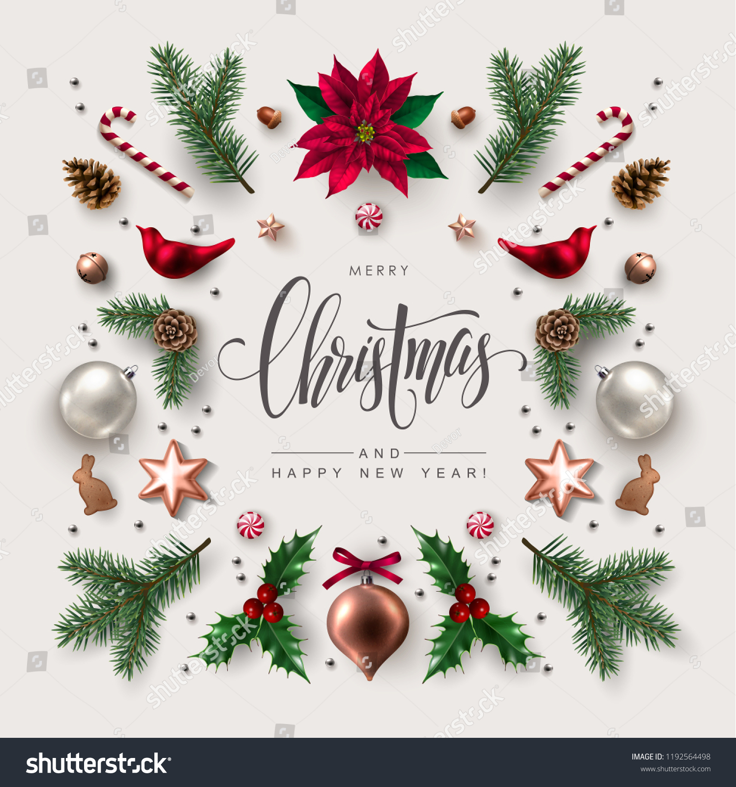 Christmas greeting card with Calligraphic Season Wishes and Composition of Festive Elements such as Cookies, Candies, Berries, Christmas Tree Decorations, Pine Branches. #1192564498