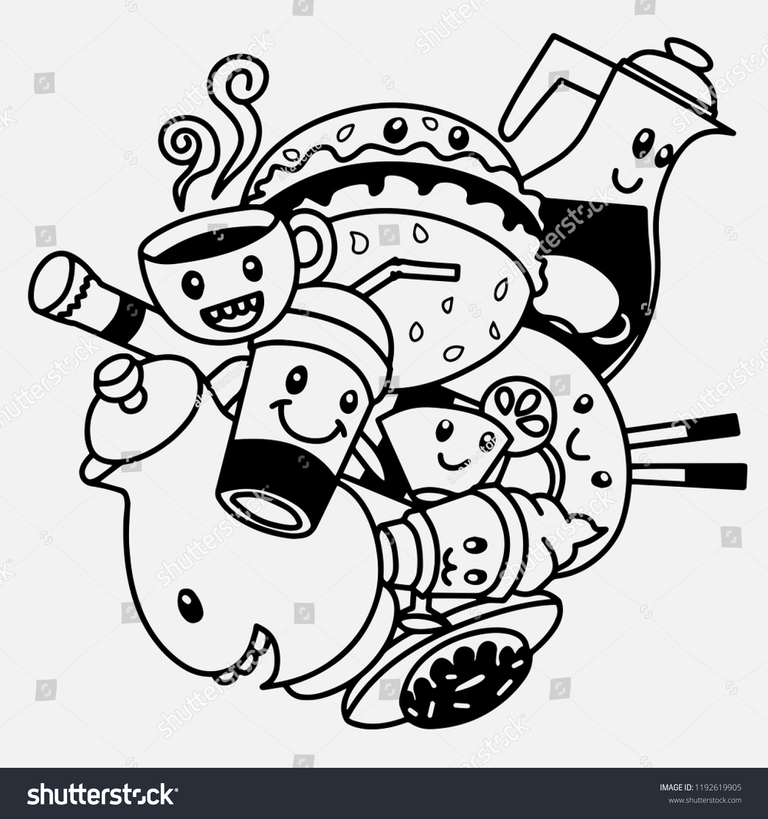 Vector Illustration Doodle Cute Monster Background Stock Vector ...